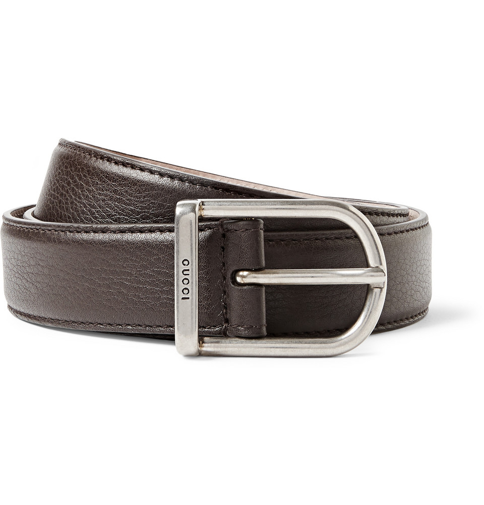 gucci 3cm brown leather belt in brown for lyst