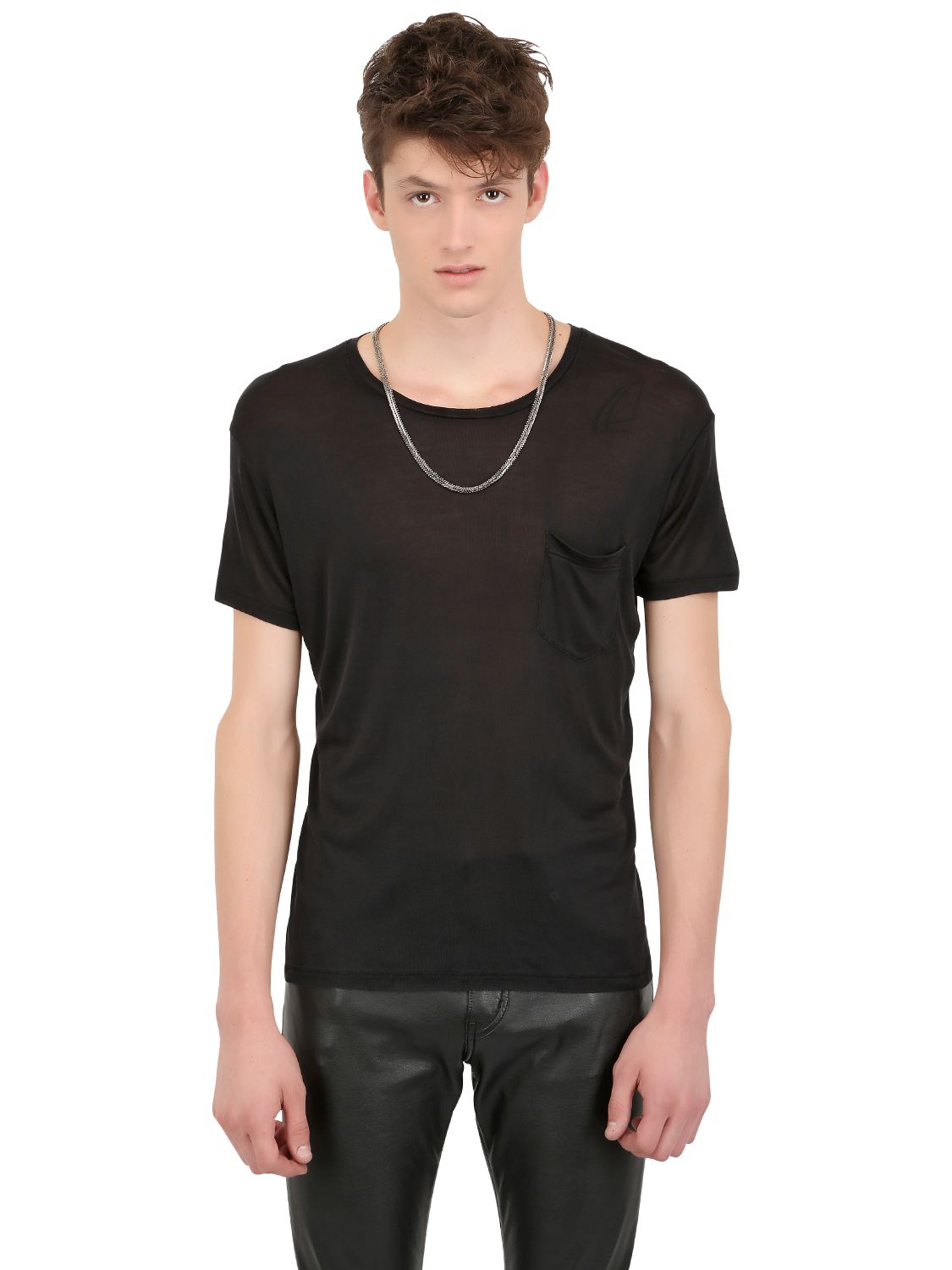 saint laurent chained collar silk jersey t shirt in black