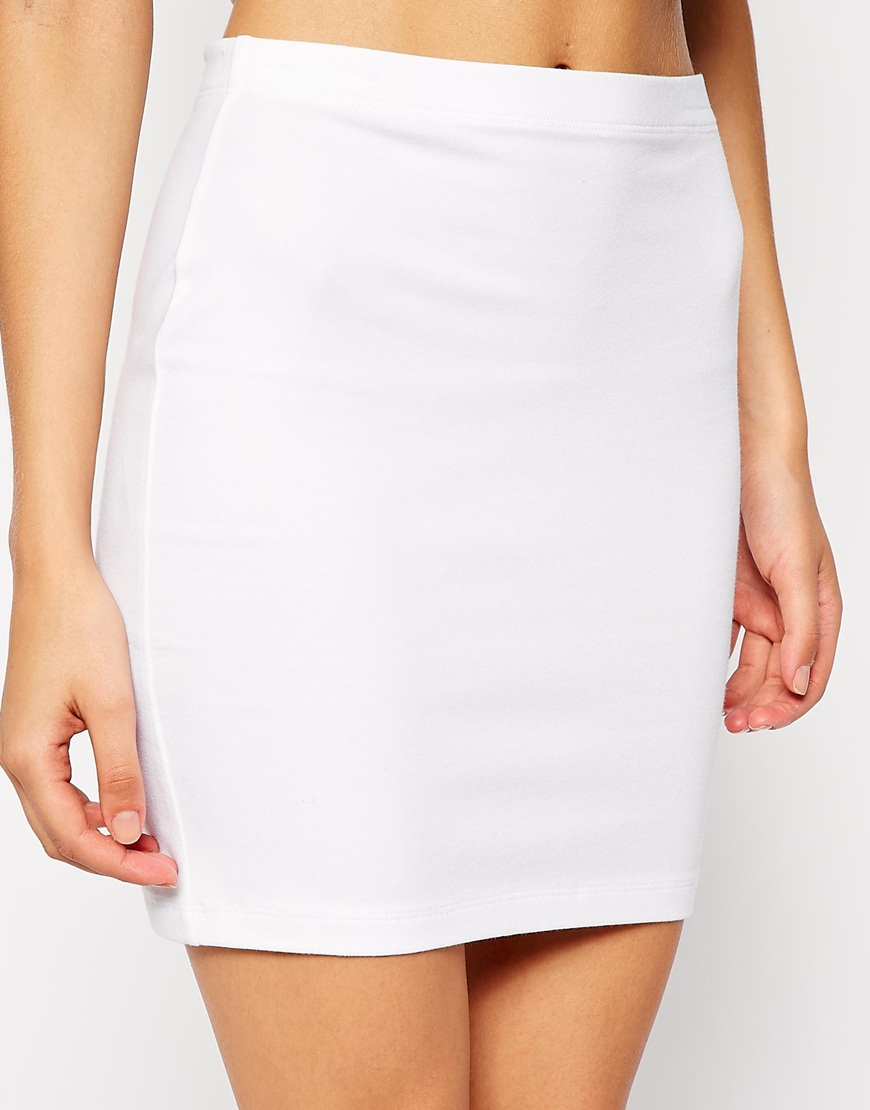 Asos Mini Skirt In Jersey in White | Lyst