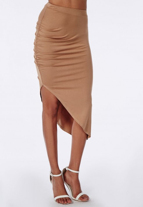 ae3c986e57 Missguided Ruched Side Asymmetric Midi Skirt Camel in Natural - Lyst