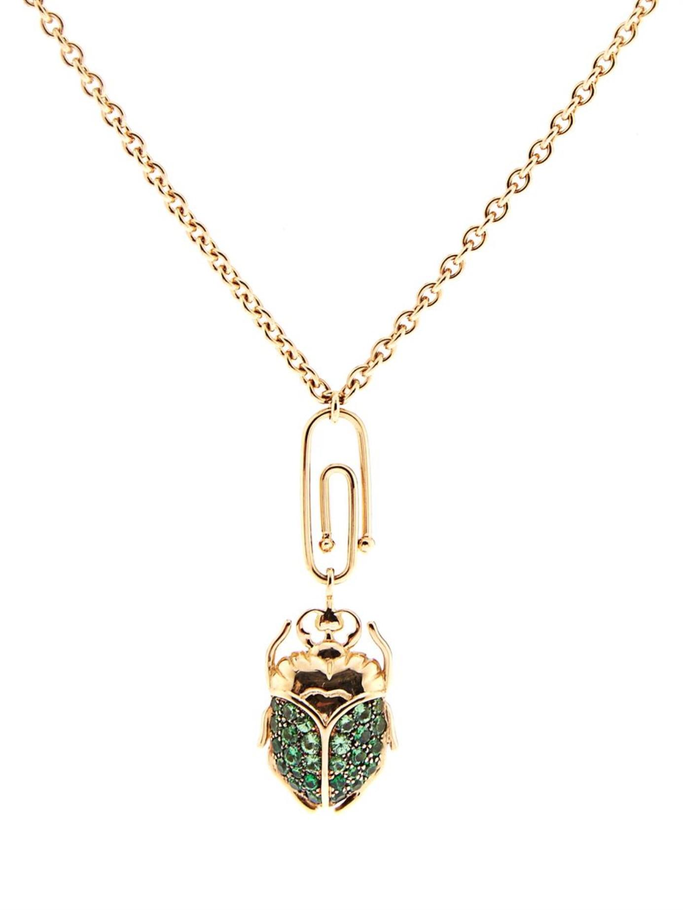 Aurelie bidermann Tsavorite & Yellow-Gold Necklace in ...