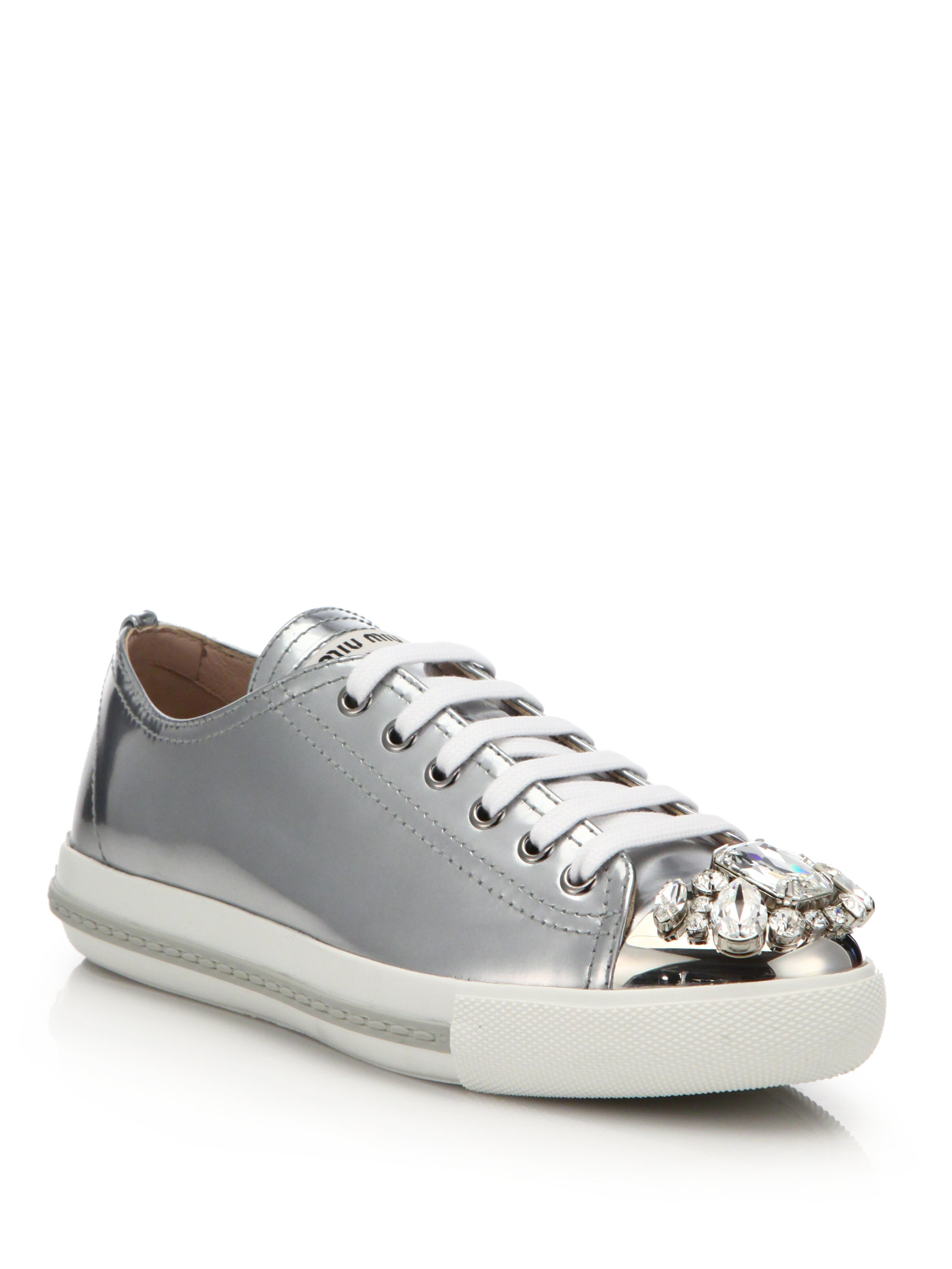 411493b8418462 Lyst - Miu Miu Metallic Jewel Cap-toe Sneakers in Metallic