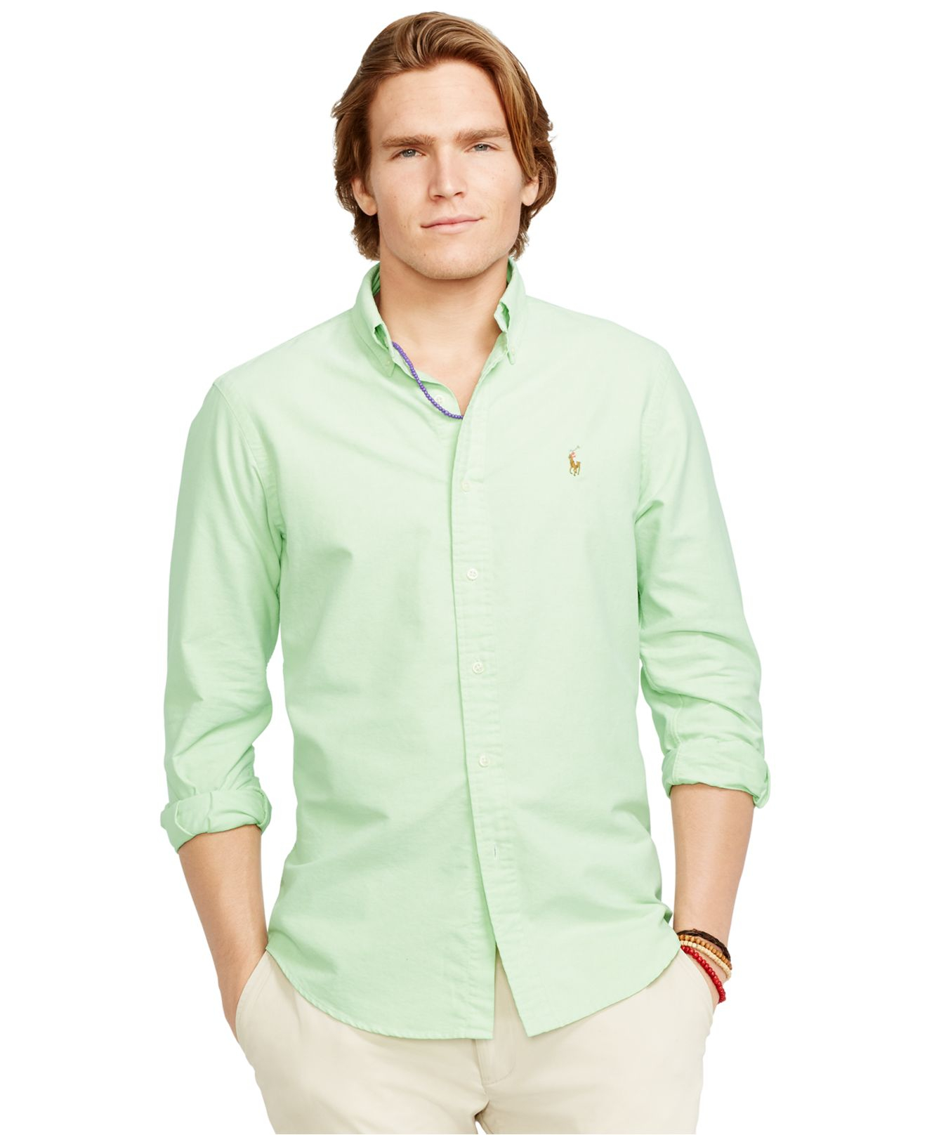 Lyst Polo Ralph Lauren Solid Oxford Shirt In Green For Men