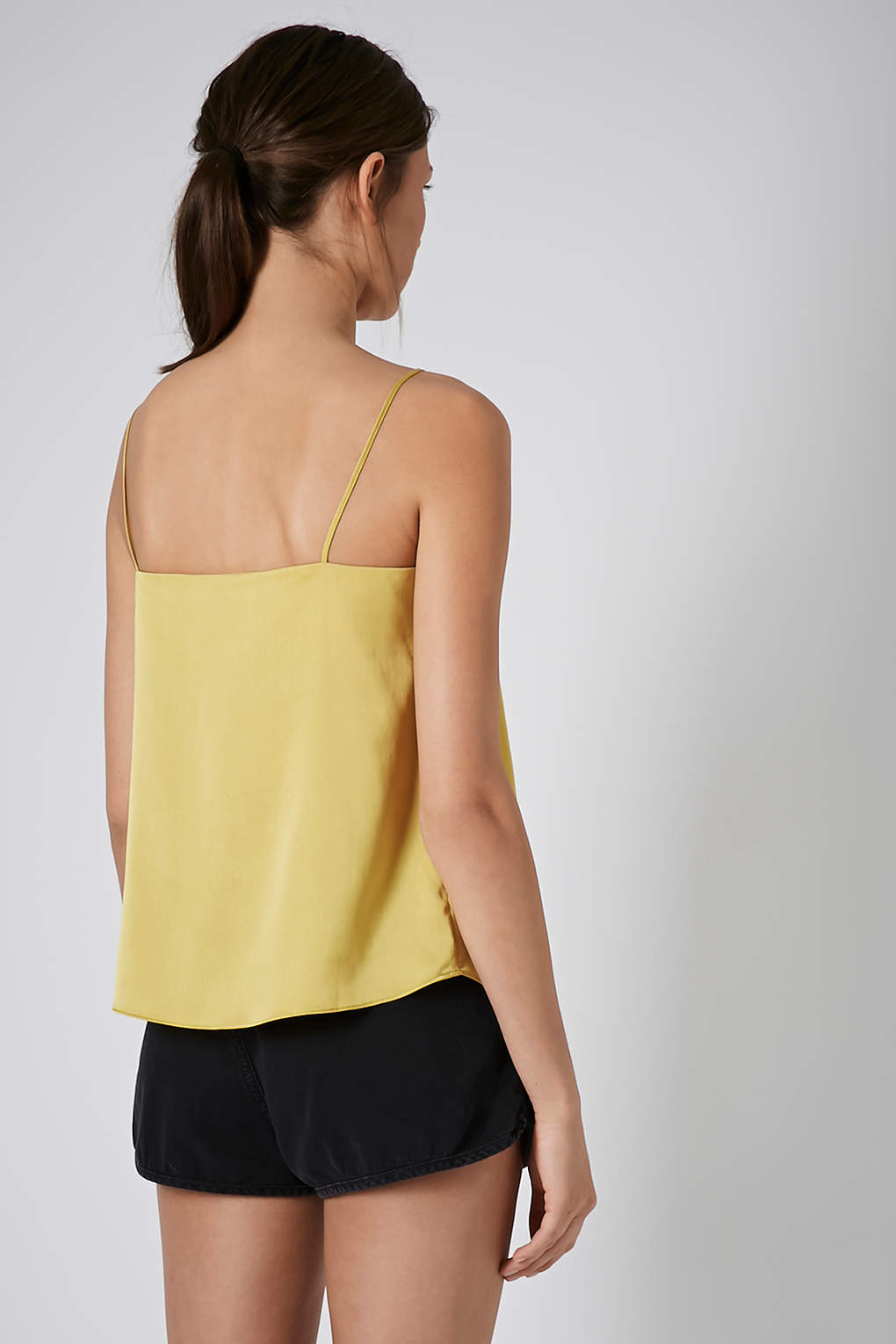 yellow satin cami lyst topshop satin straight neck cami top in yellow 4761
