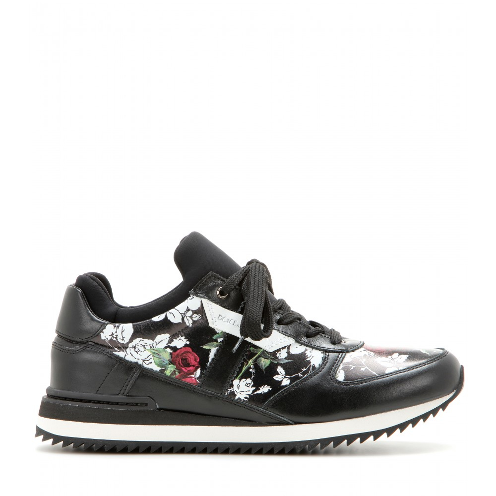 dolce gabbana floral leather and fabric sneakers in. Black Bedroom Furniture Sets. Home Design Ideas