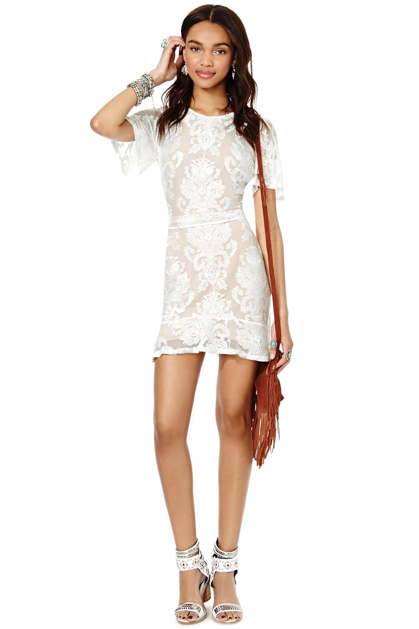 lyst nasty gal for love and lemons san marcos mini dress in white. Black Bedroom Furniture Sets. Home Design Ideas