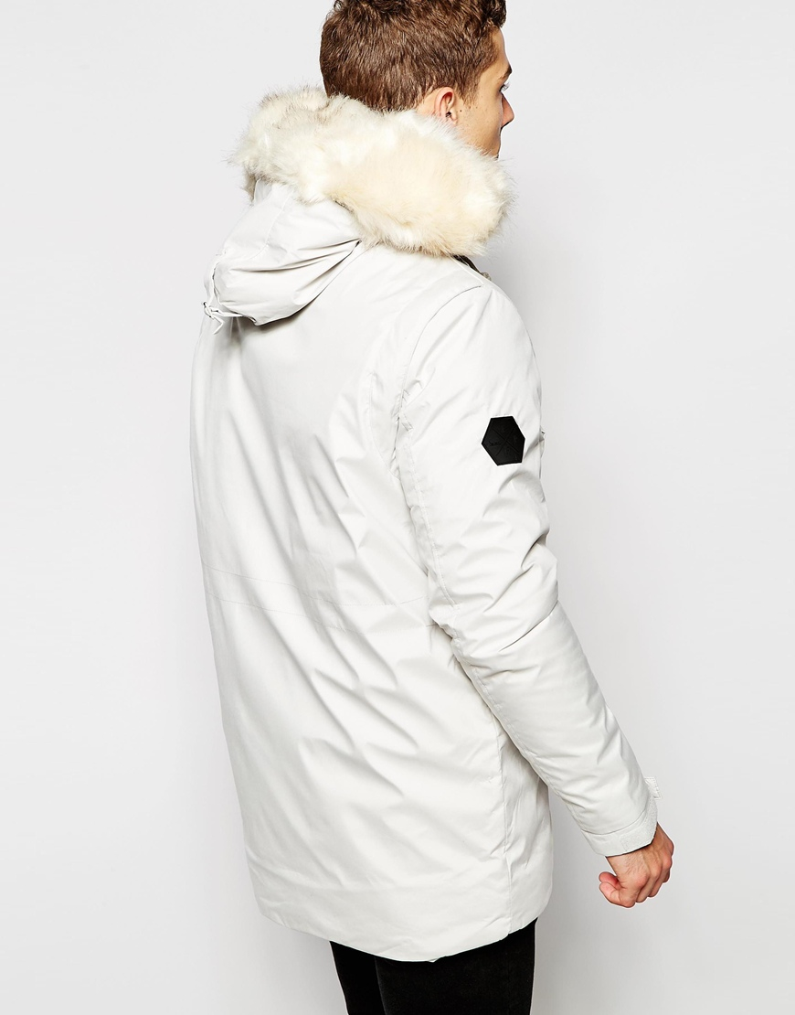Bellfield Arctic Parka With Faux Fur Hood in White for Men | Lyst