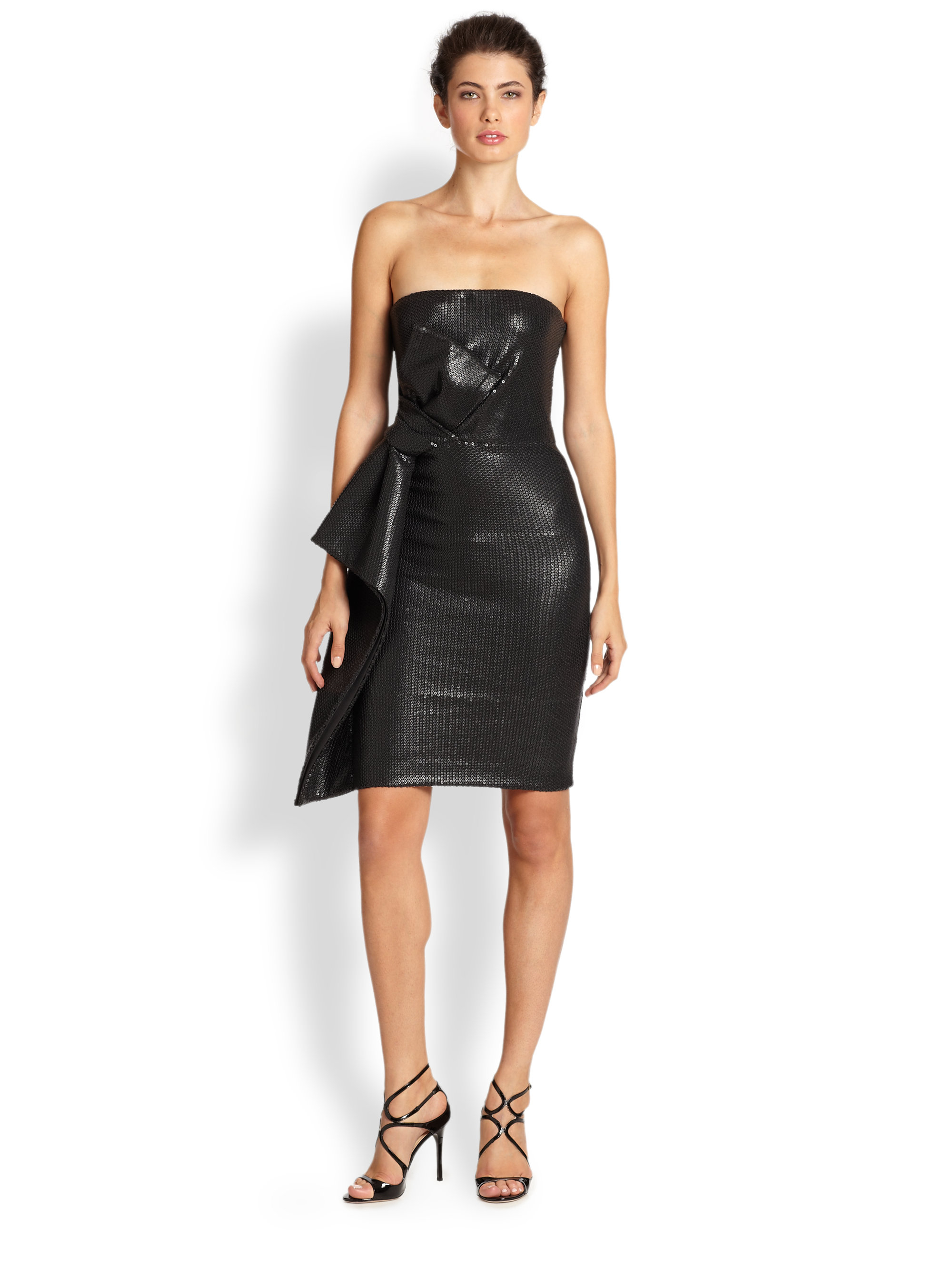 Halston Strapless Sequin Bow Dress in Black - Lyst