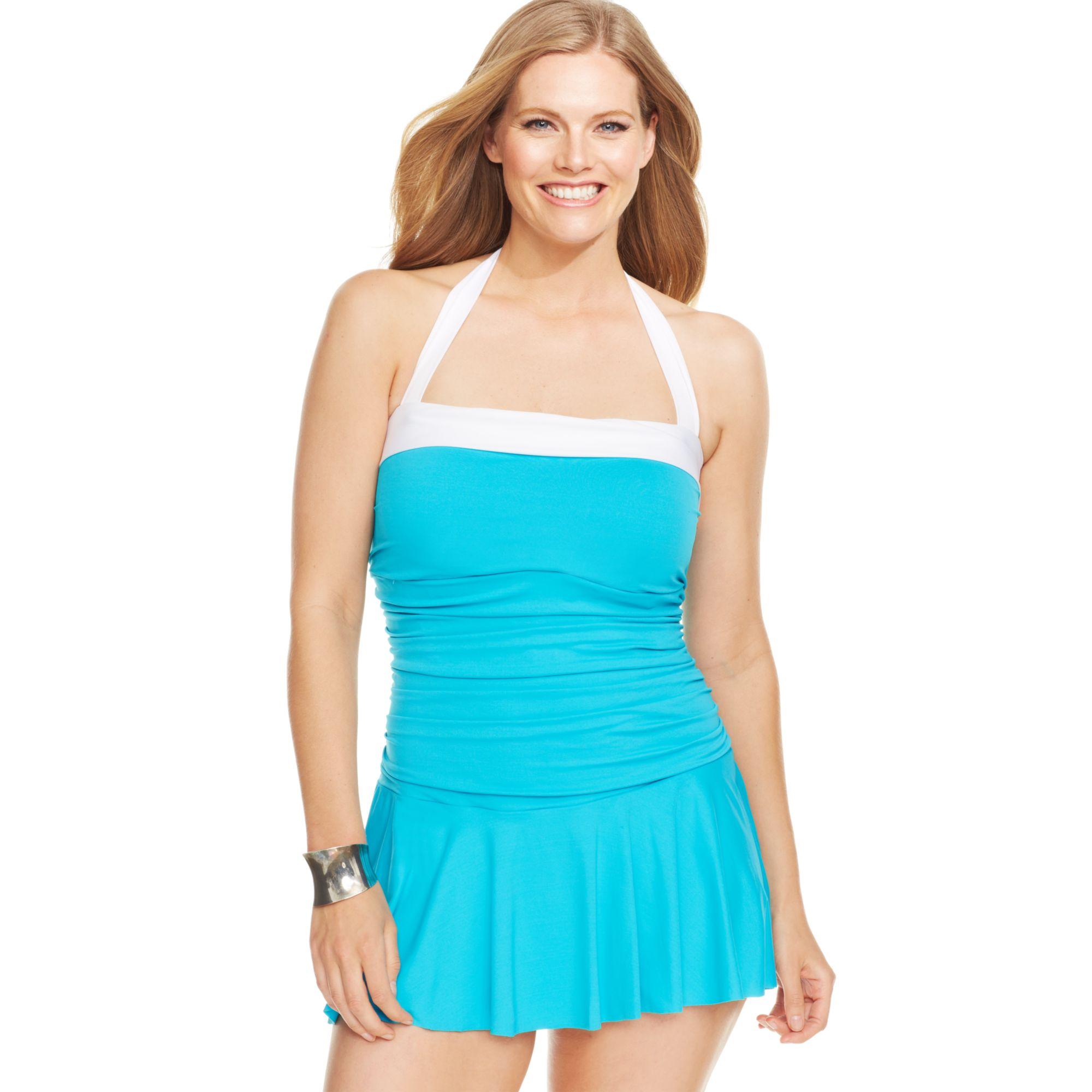 46f30903dda Lauren by Ralph Lauren Plus Size Colorblocked Halter Swimdress in ...
