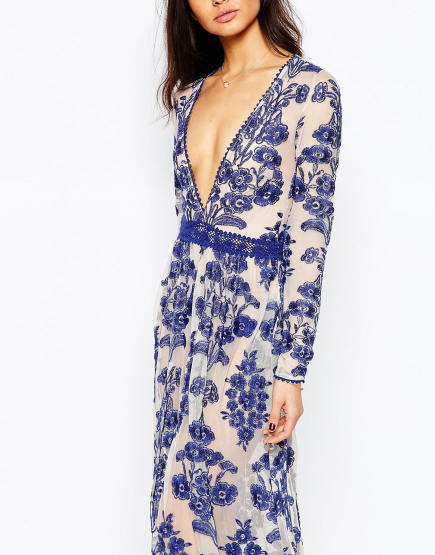 For Love Amp Lemons Temecula Embroidered Maxi Dress In Blue
