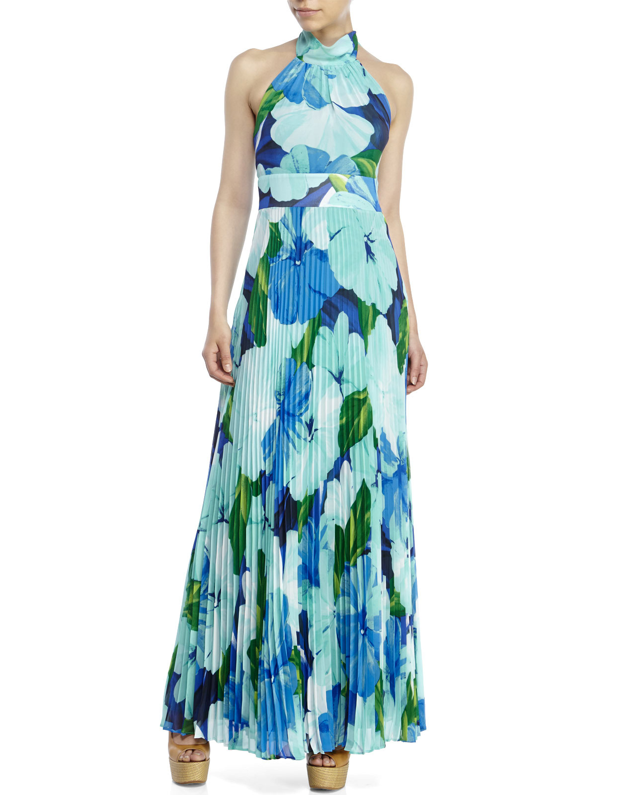 Eliza J Pleated Floral Chiffon Maxi Dress In Green Lyst