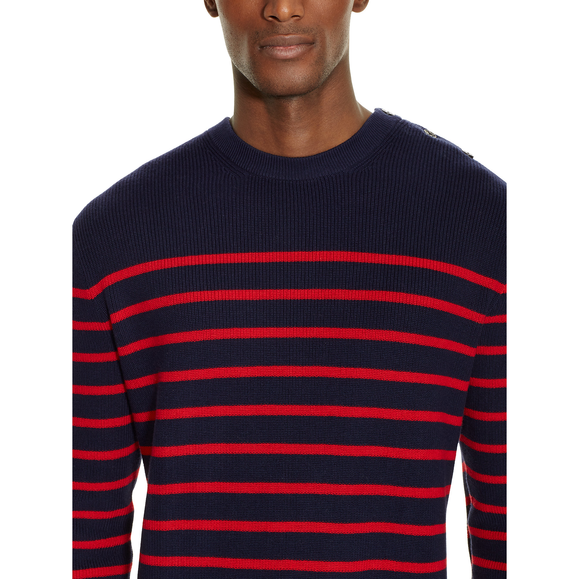 Polo ralph lauren Striped Cotton Sweater in Black for Men | Lyst