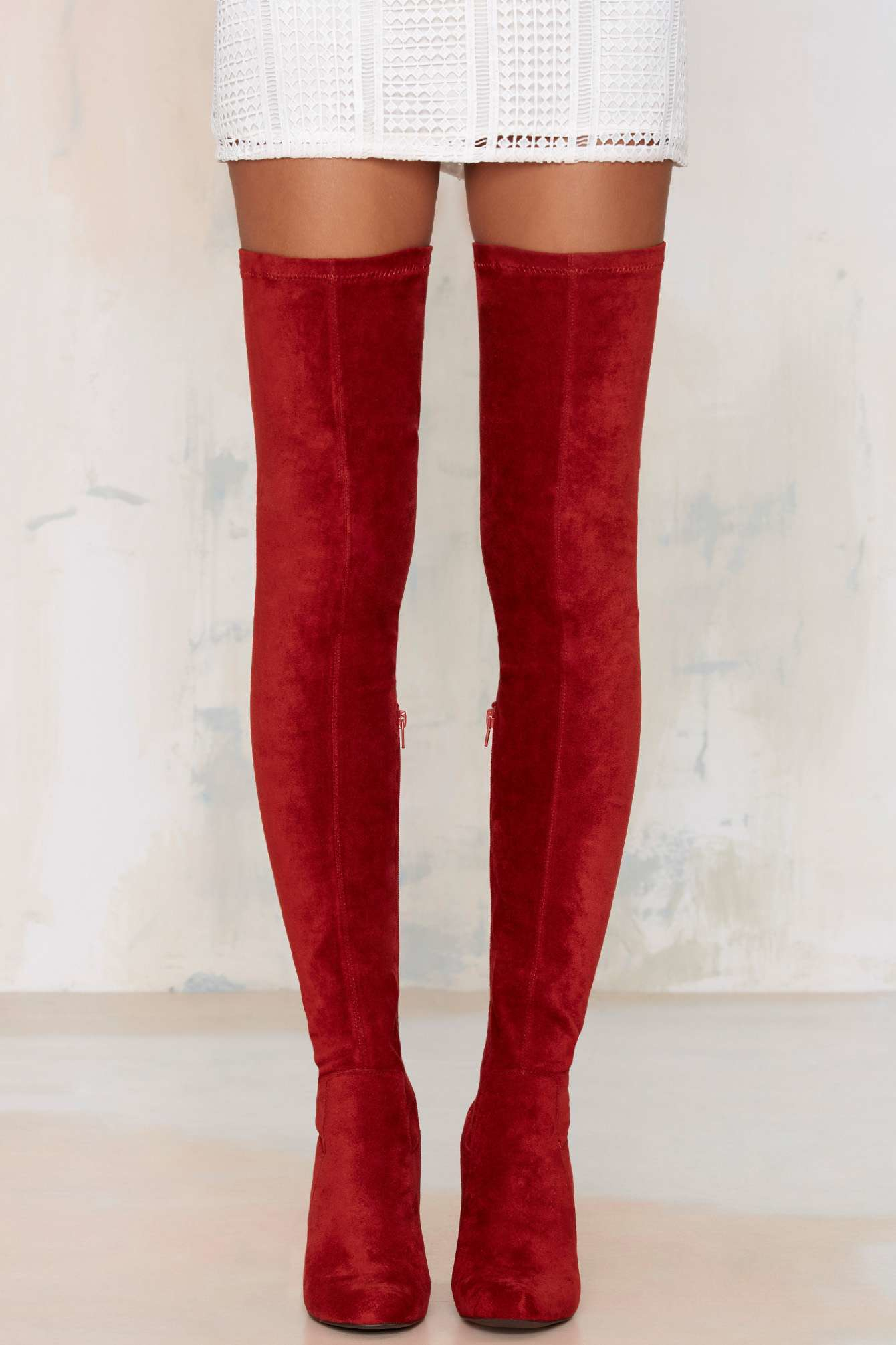 Lyst Jeffrey Campbell Perouze Thigh High Boot Rust In Red