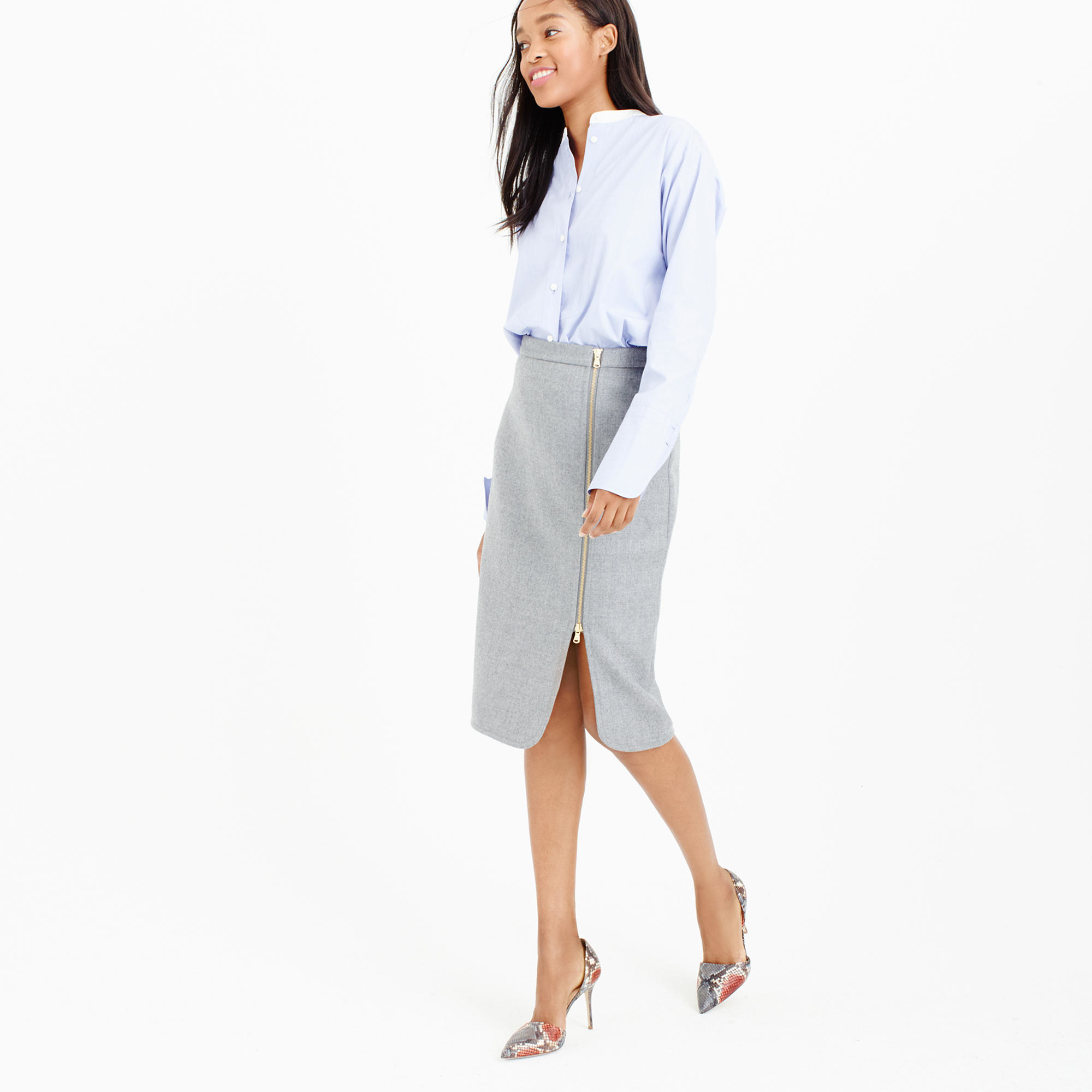 j crew gray wool zip pencil skirt lyst