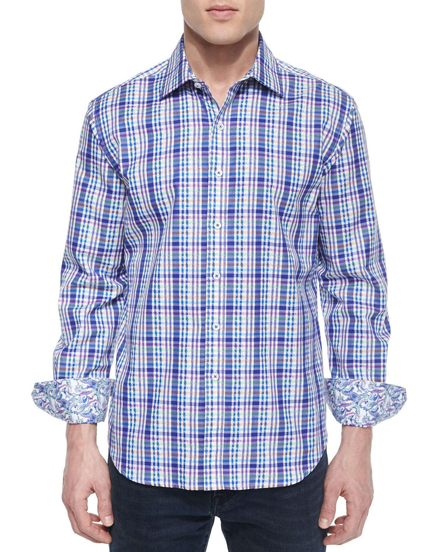Robert Graham Bowfin Multi Gingham Sport Shirt In Blue For