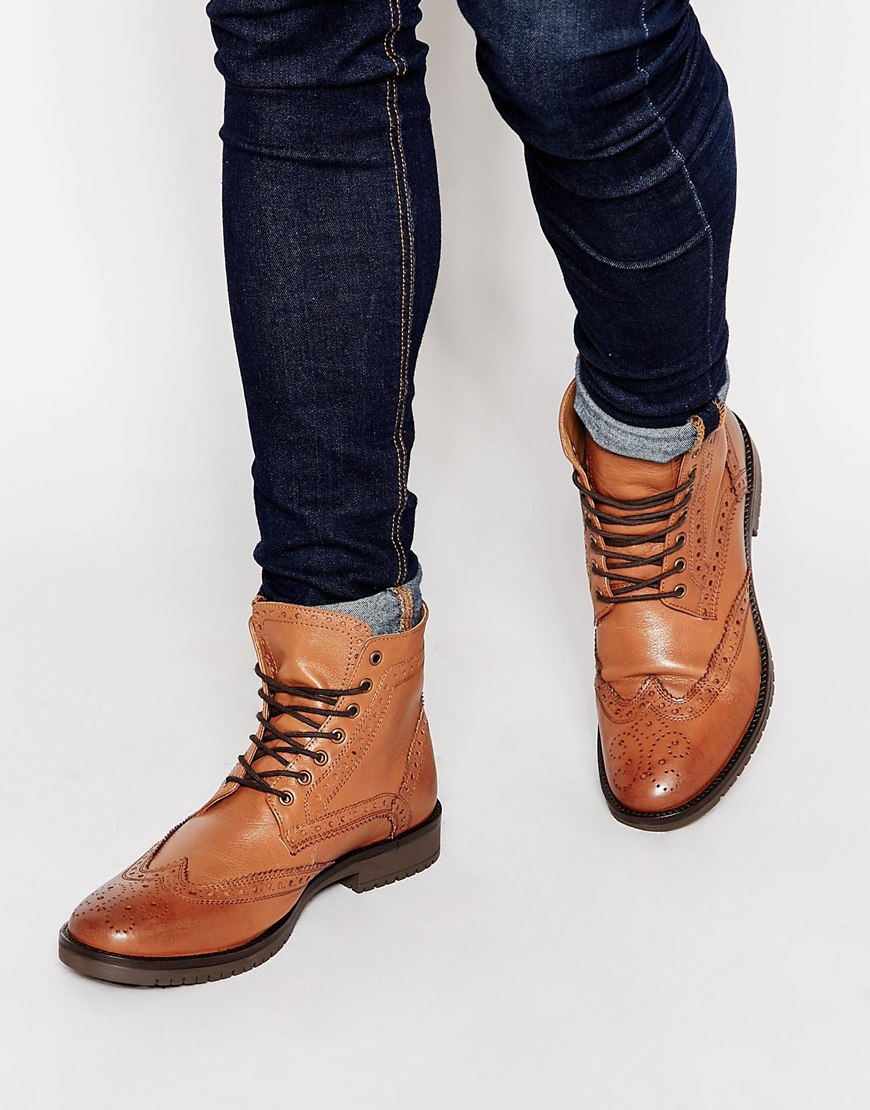 asos brogue boots in leather in brown for lyst