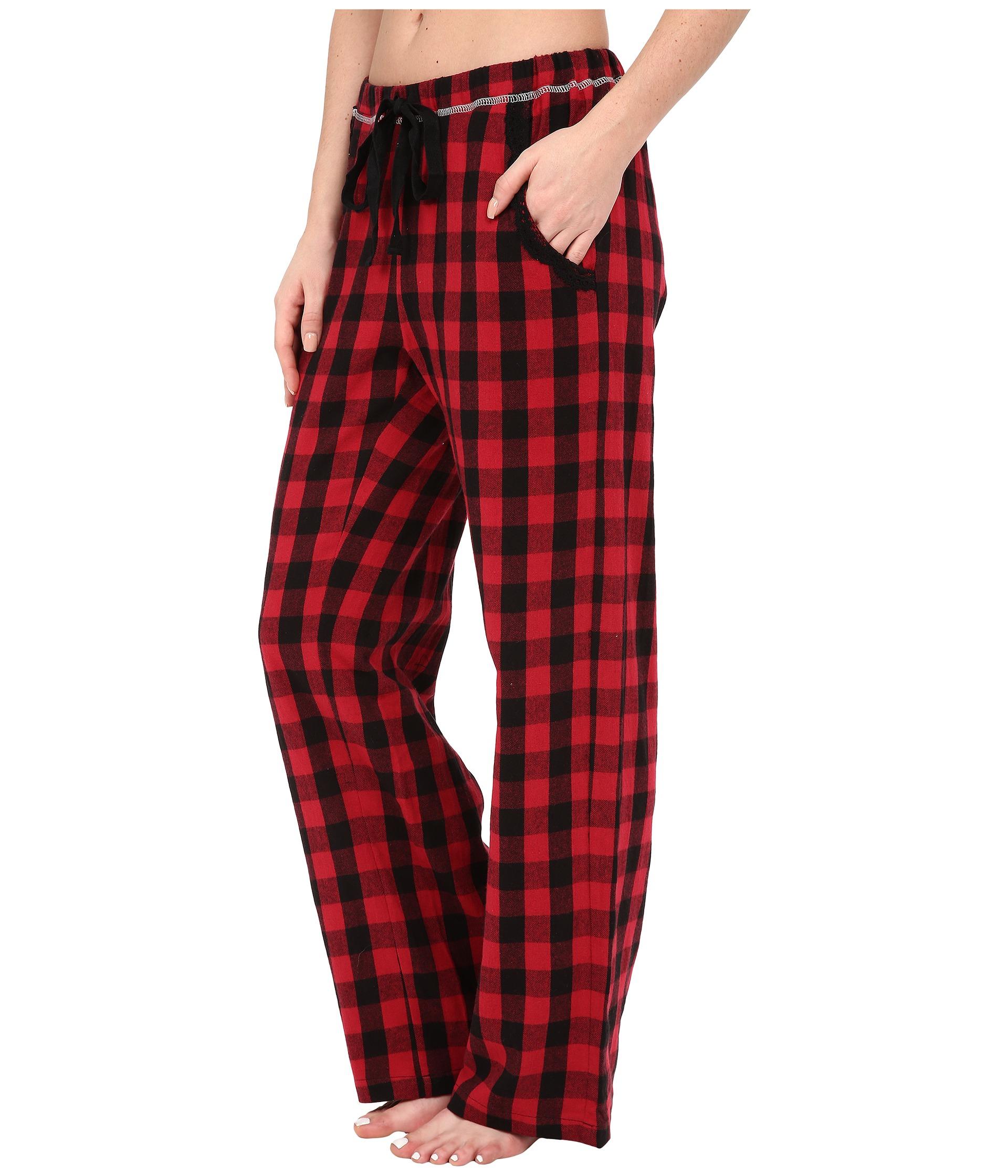 Dylan by true grit Flannel Sleepwear Pants W/ Heather Knit Buffalo ...