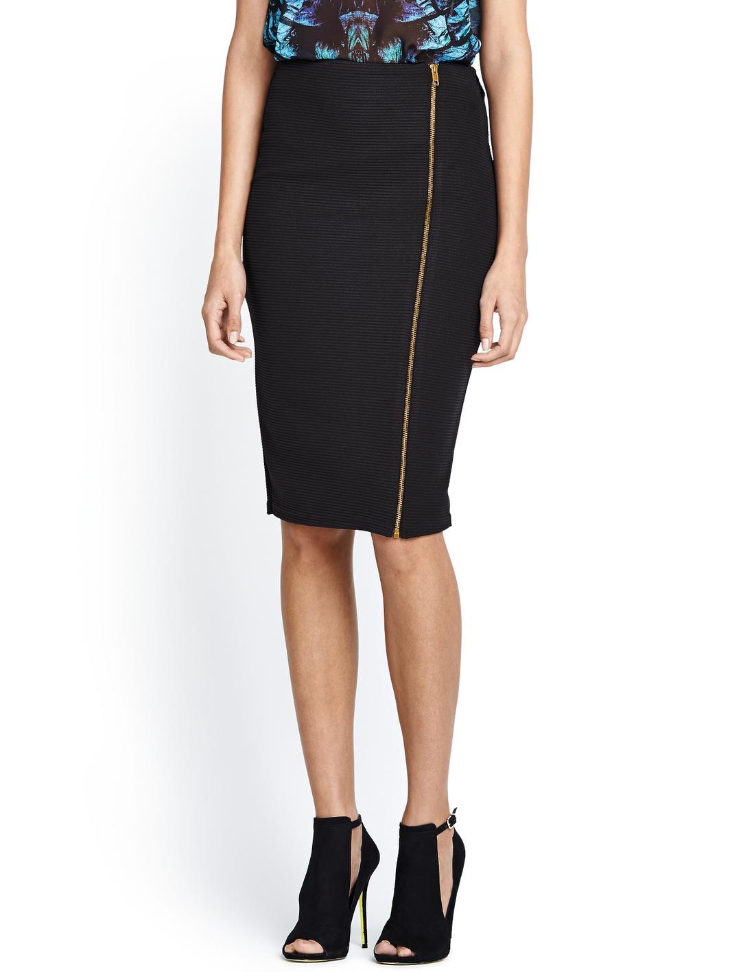 lipsy jersey zip midi skirt in black lyst