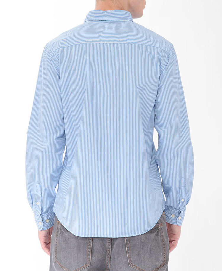 Forever 21 striped button down shirt in blue for men lyst for Striped button down shirts for men