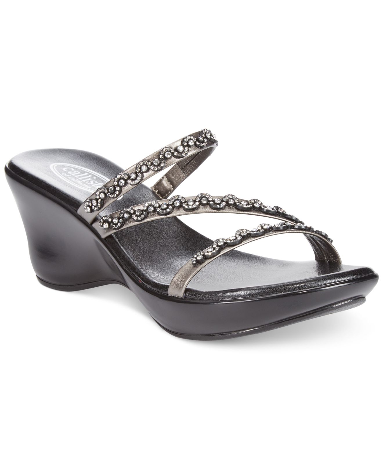 6a8620d22 Lyst - Callisto Shana Thong Wedge Sandals in Black