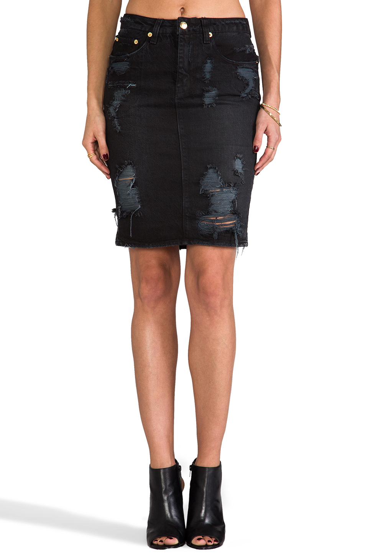 ksubi hi and waisted skirt in black in black lyst
