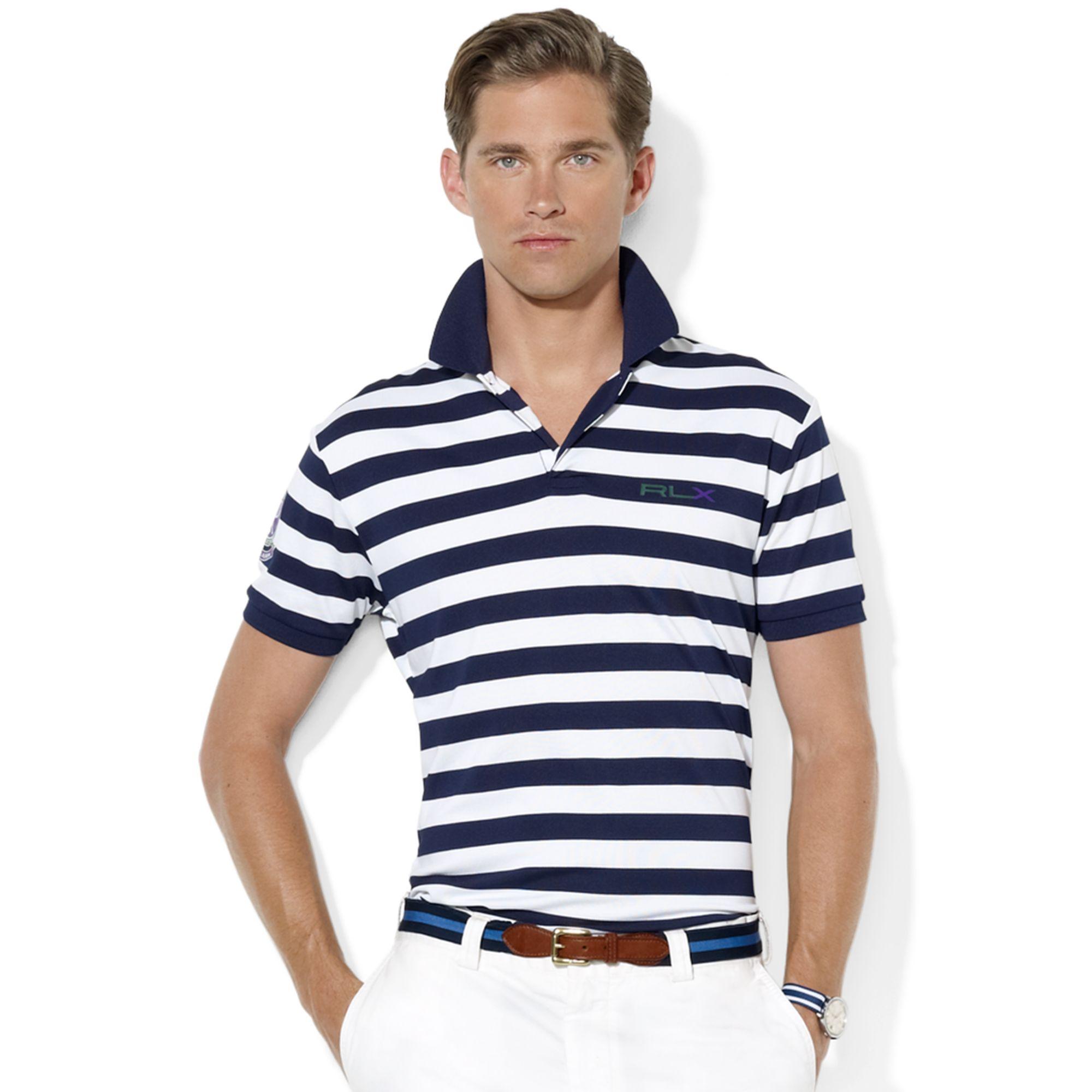 Lyst Ralph Lauren Rlx Wimbledon Short Sleeved Striped Tech Polo