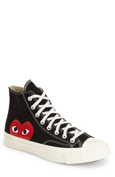 comme des gar ons x converse chuck taylor 39 play hidden heart 39 high top sneaker in black for. Black Bedroom Furniture Sets. Home Design Ideas