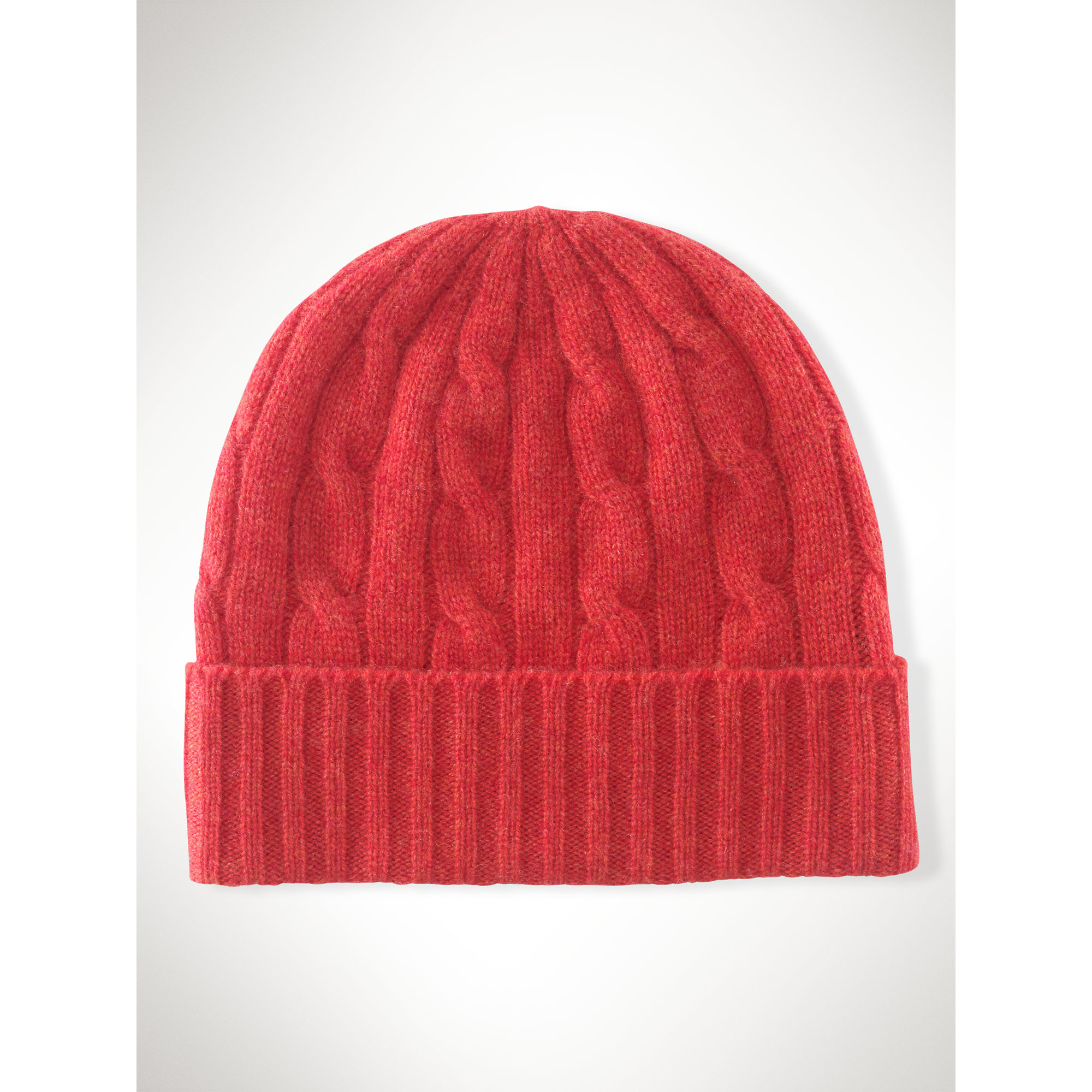 Lyst - Polo Ralph Lauren Cable-knit Cashmere Hat in Red 2bd4562aa9e