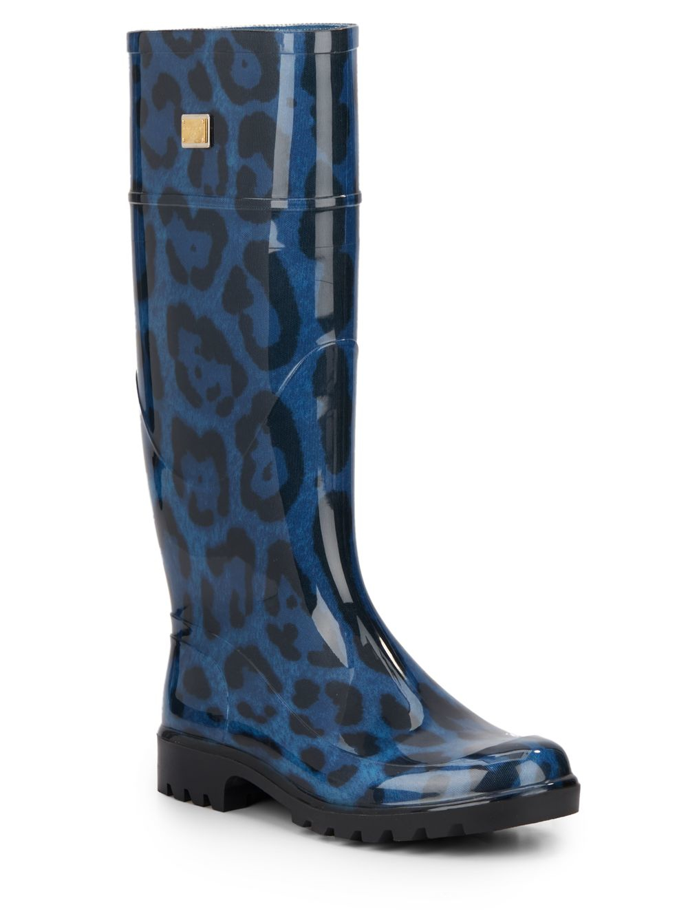 Dolce & Gabbana Knee gum boots black pony leopard print D4sAQCw