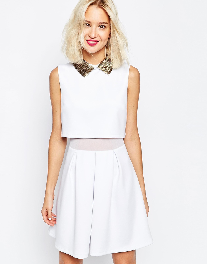 d612545aa049 Lyst - ASOS Embellished Beaded Collar Skater Dress in White