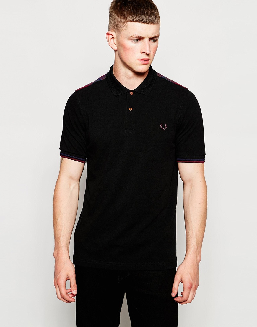 fred perry polo shirt with tartan panel in black in black for men lyst. Black Bedroom Furniture Sets. Home Design Ideas