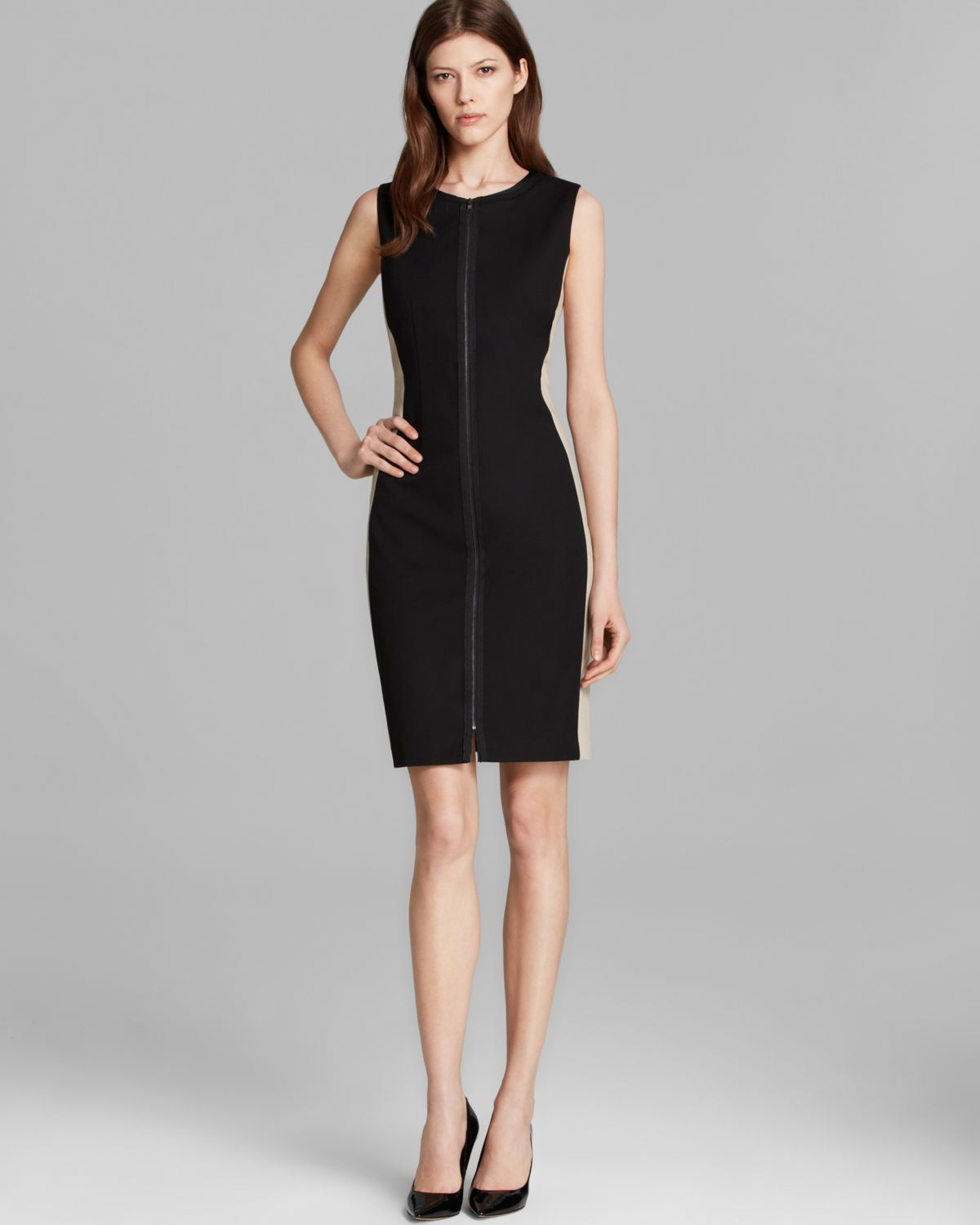 T tahari avani sleeveless side zip dress in black lyst for Tahari t shirt mens
