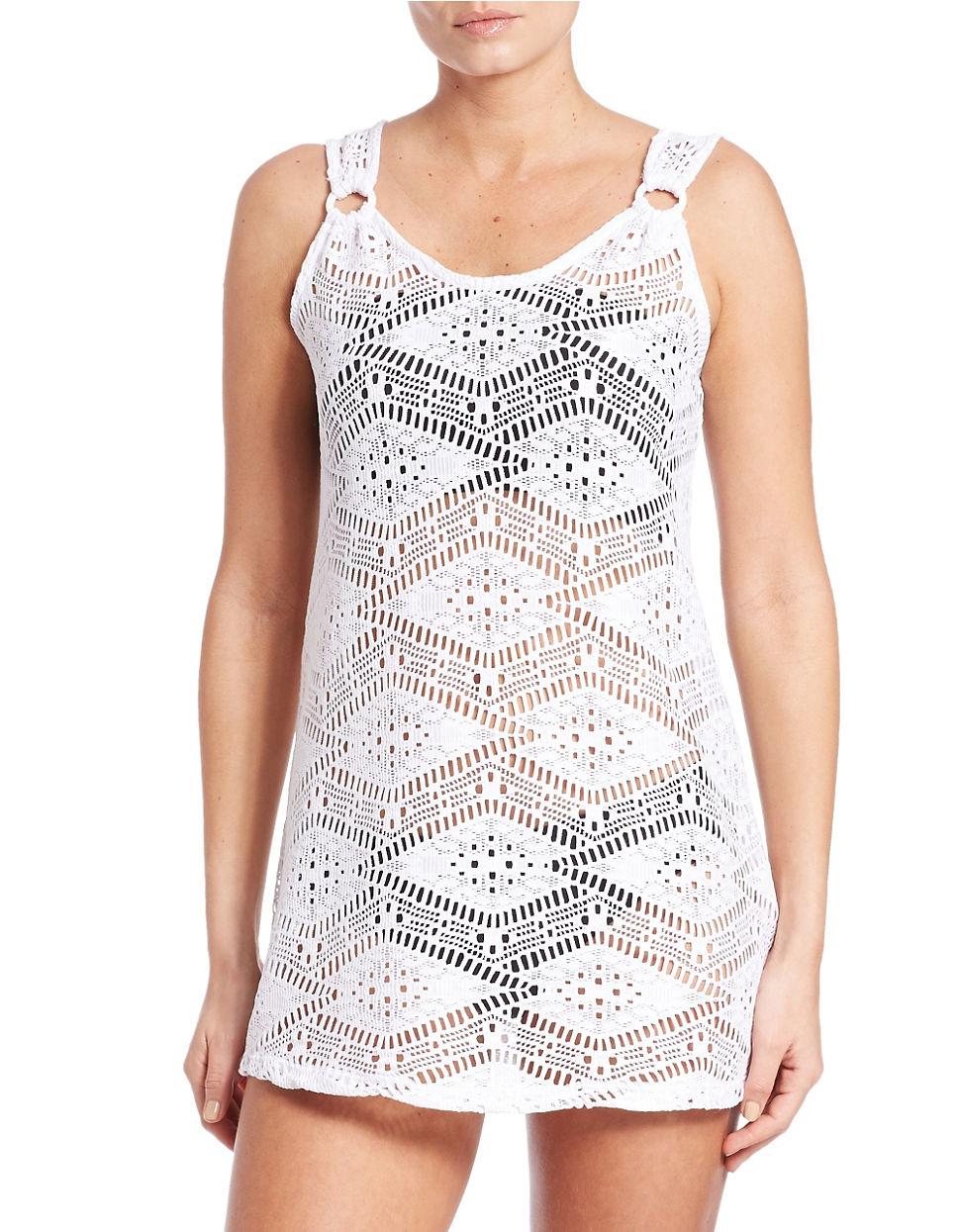 630d6892b4 J Valdi Diamond Crochet Ring Tank Cover-up in White - Lyst