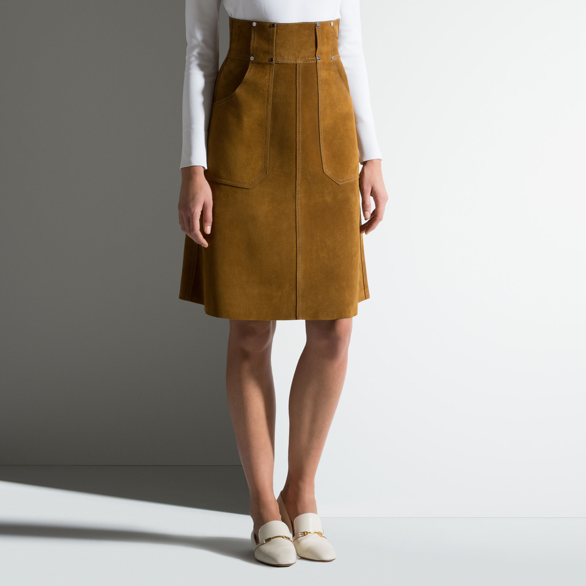Brown Suede A Line Skirt - Dress Ala