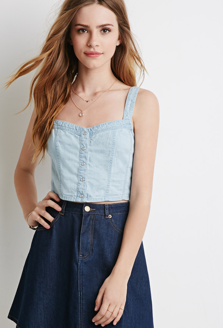 21 Best Grow Your Tarot Business Online Images On: Forever 21 Denim Crop Top In Blue