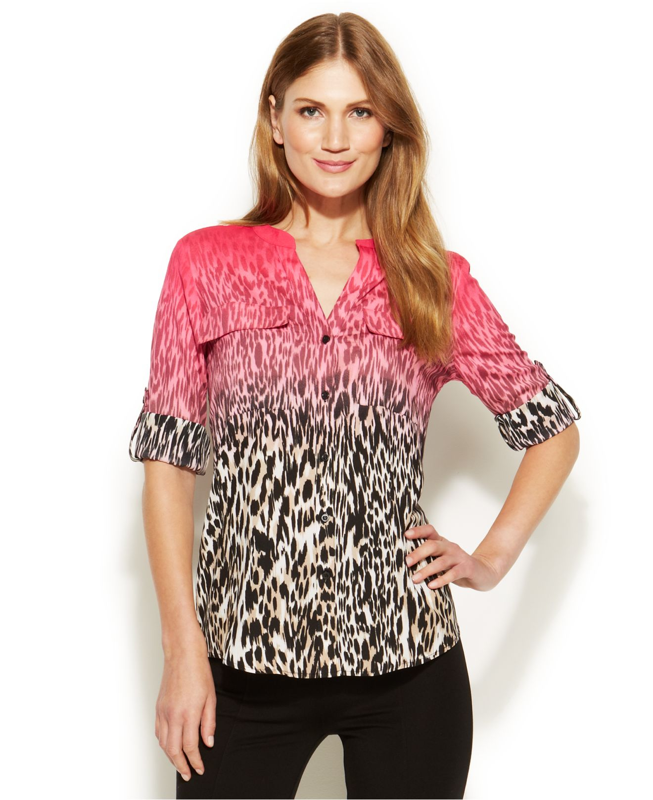 c7933be770a7 Calvin Klein Three-Quarter-Sleeve Ombre Animal-Print Shirt in Pink ...