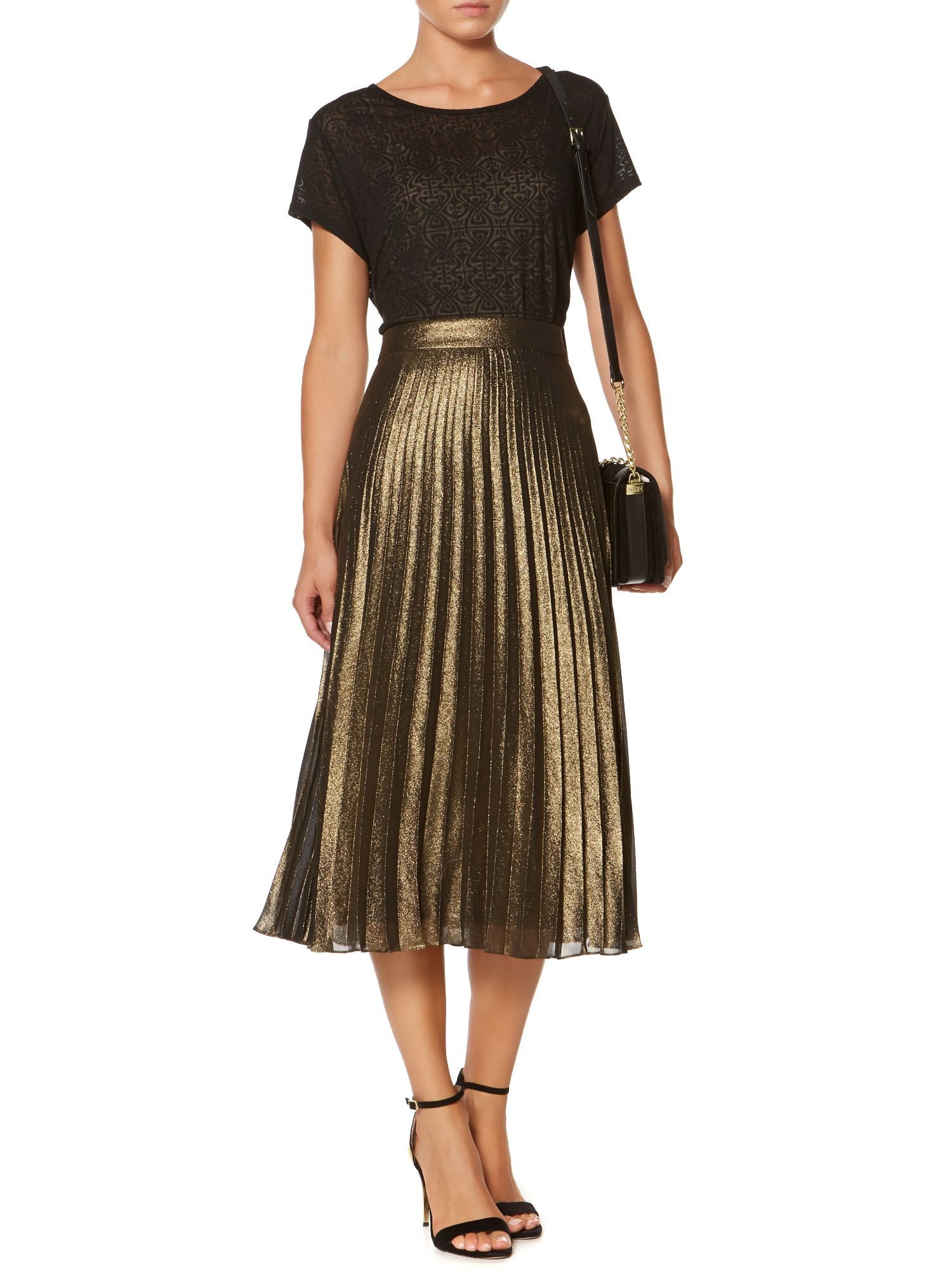 Biba Metallic Pleated Midi Skirt in Metallic | Lyst
