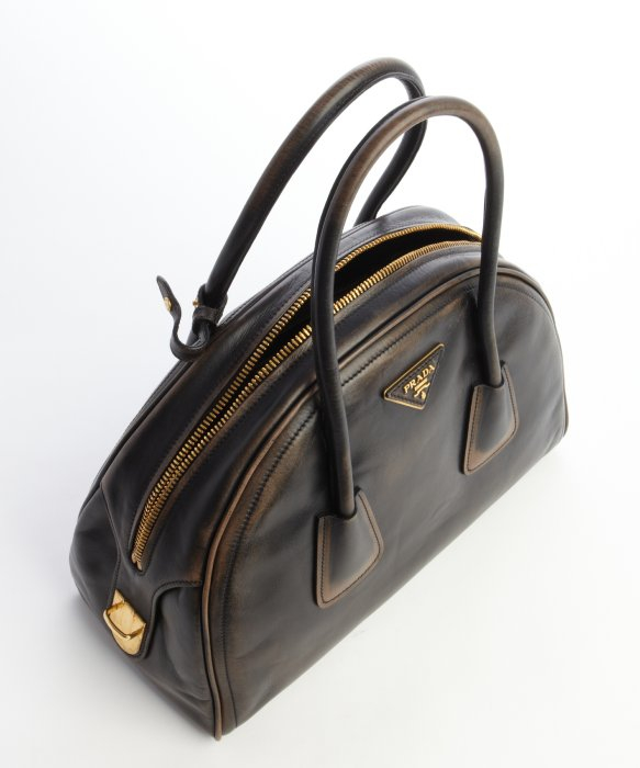 Prada Dark Brown Distressed Leather Top Handle Bowler Bag in Brown ...