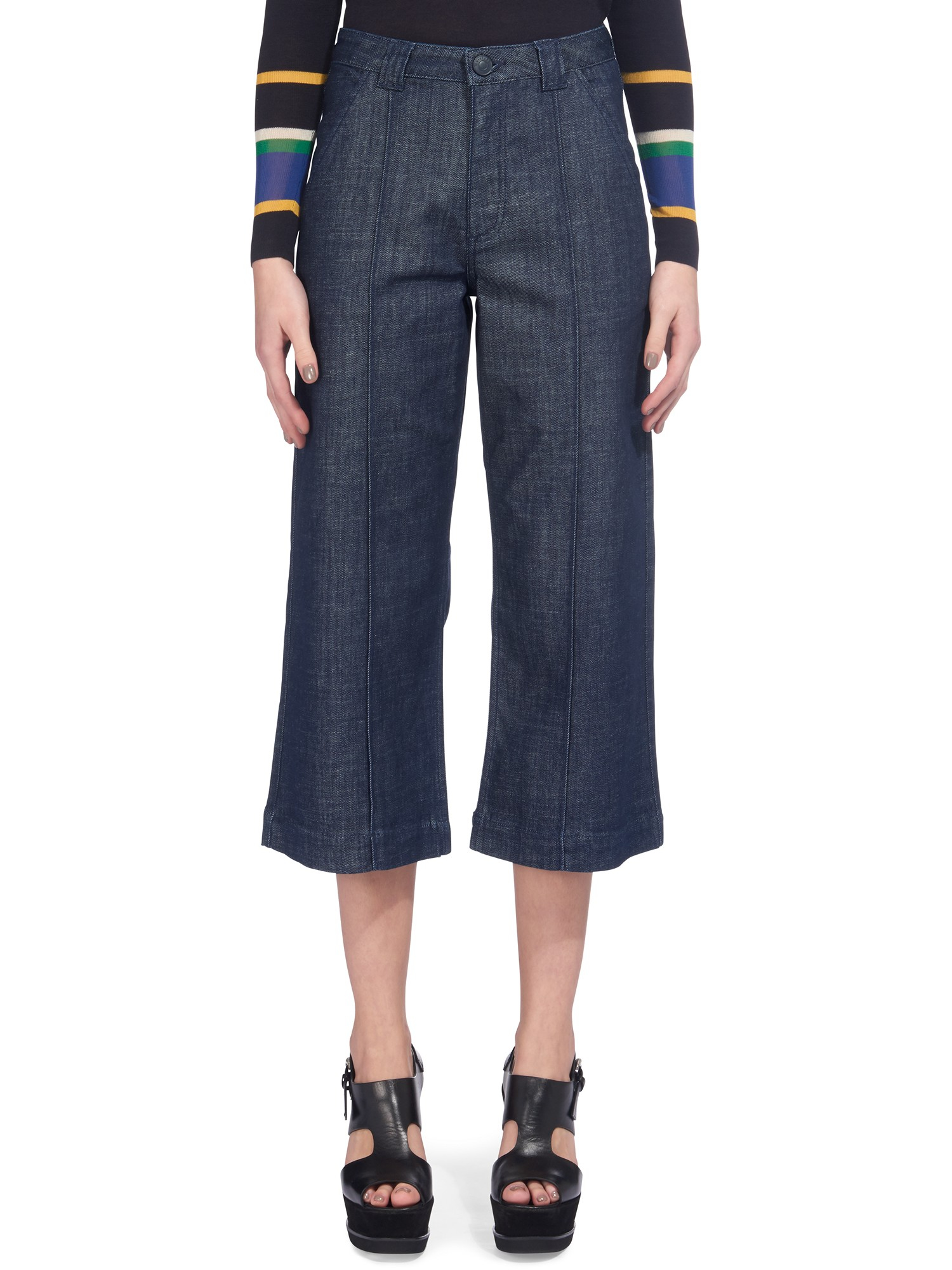 Whistles Lucie Utility Cropped Wide Leg Jeans in Blue   Lyst
