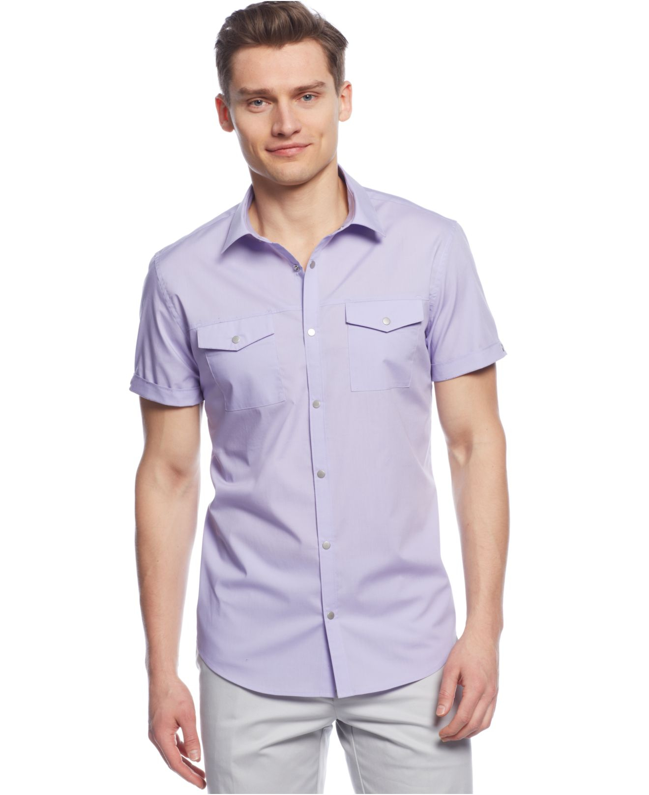 Calvin klein solid stretch slim fit shirt in purple for for Calvin klein slim fit stretch shirt