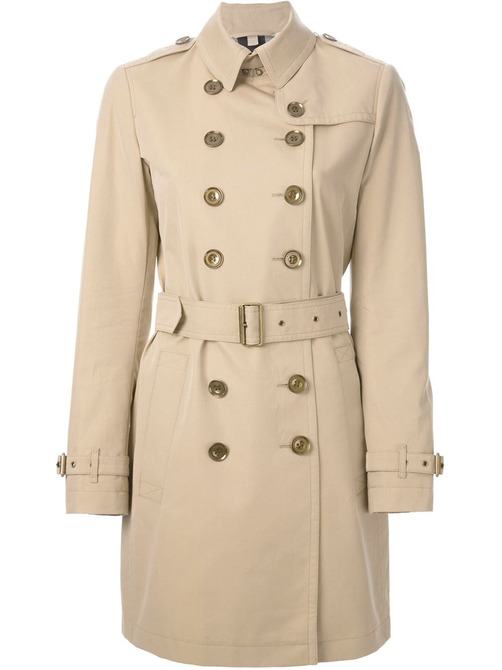 burberry brit 39 crombrook 39 trench coat in natural lyst. Black Bedroom Furniture Sets. Home Design Ideas