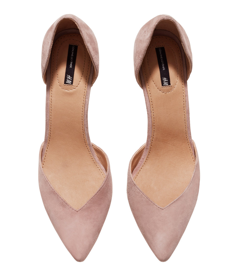 0c3ad72dba3 Lyst - H M Suede Court Shoes in Pink