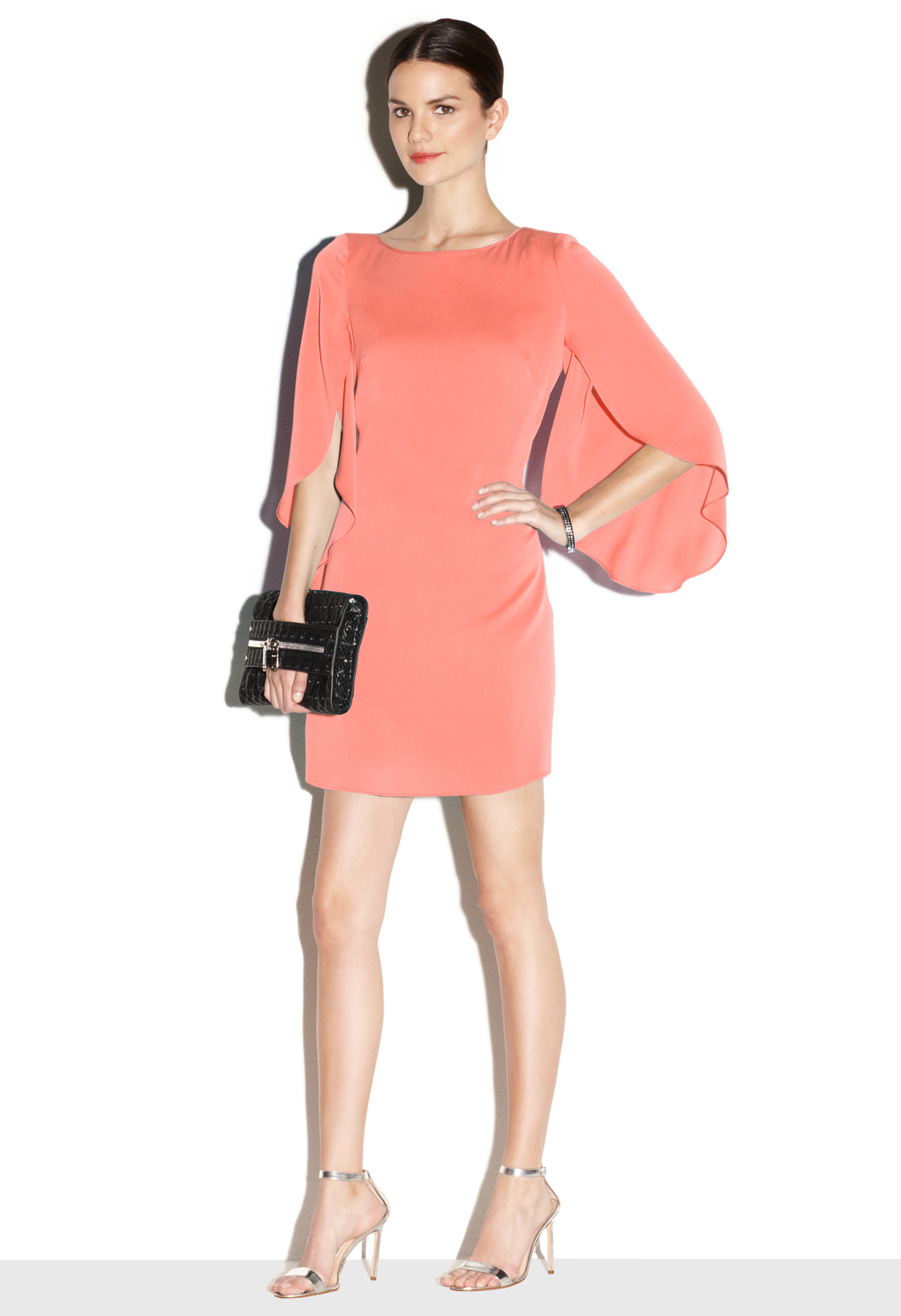Milly Butterfly Sleeve Dress in Pink  Lyst
