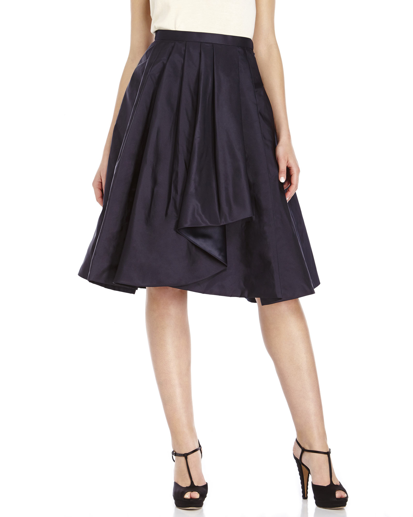 Jason wu Navy Pleated A-Line Silk Skirt in Blue | Lyst