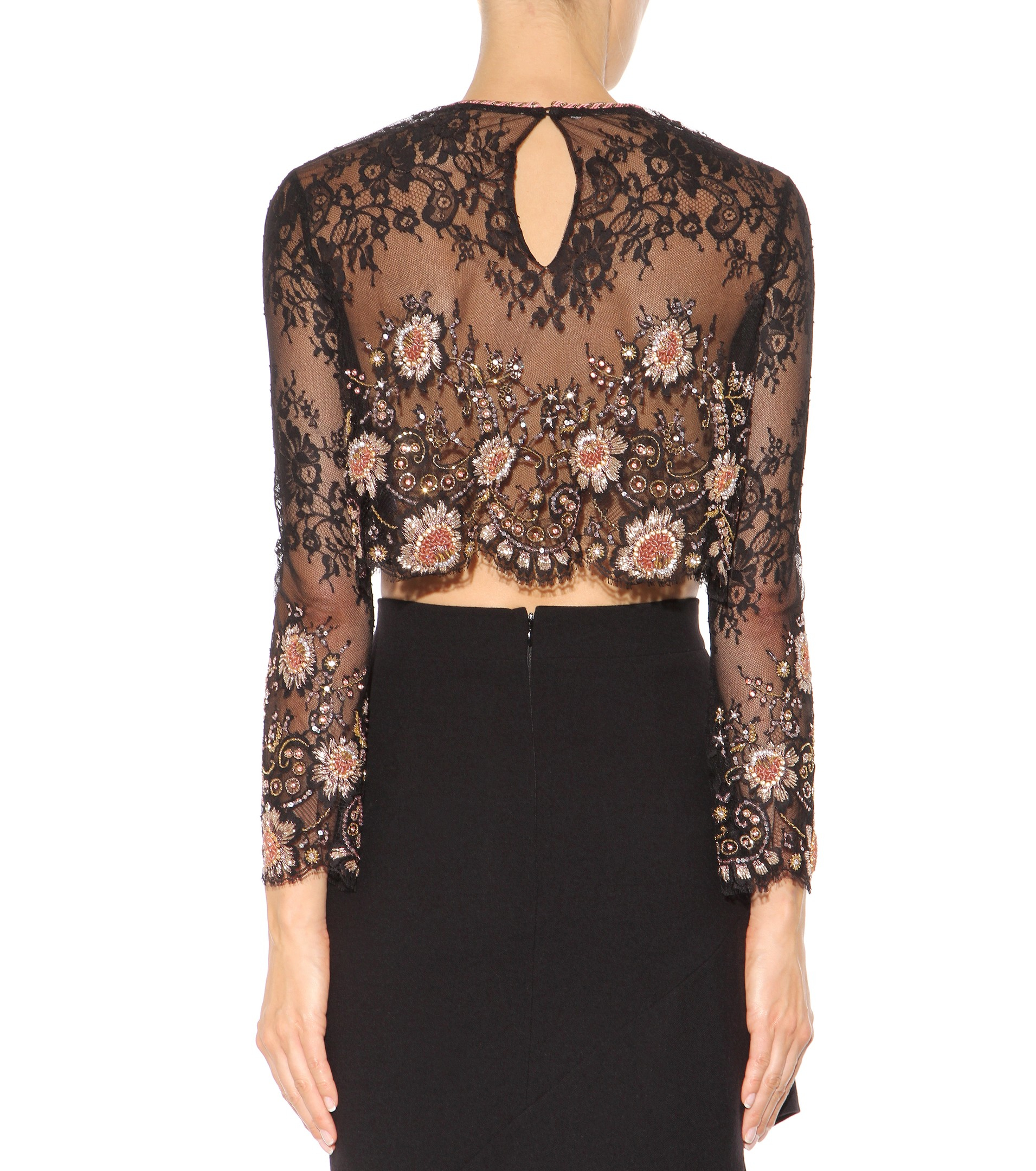 alessandra rich embellished lace cropped top in black lyst