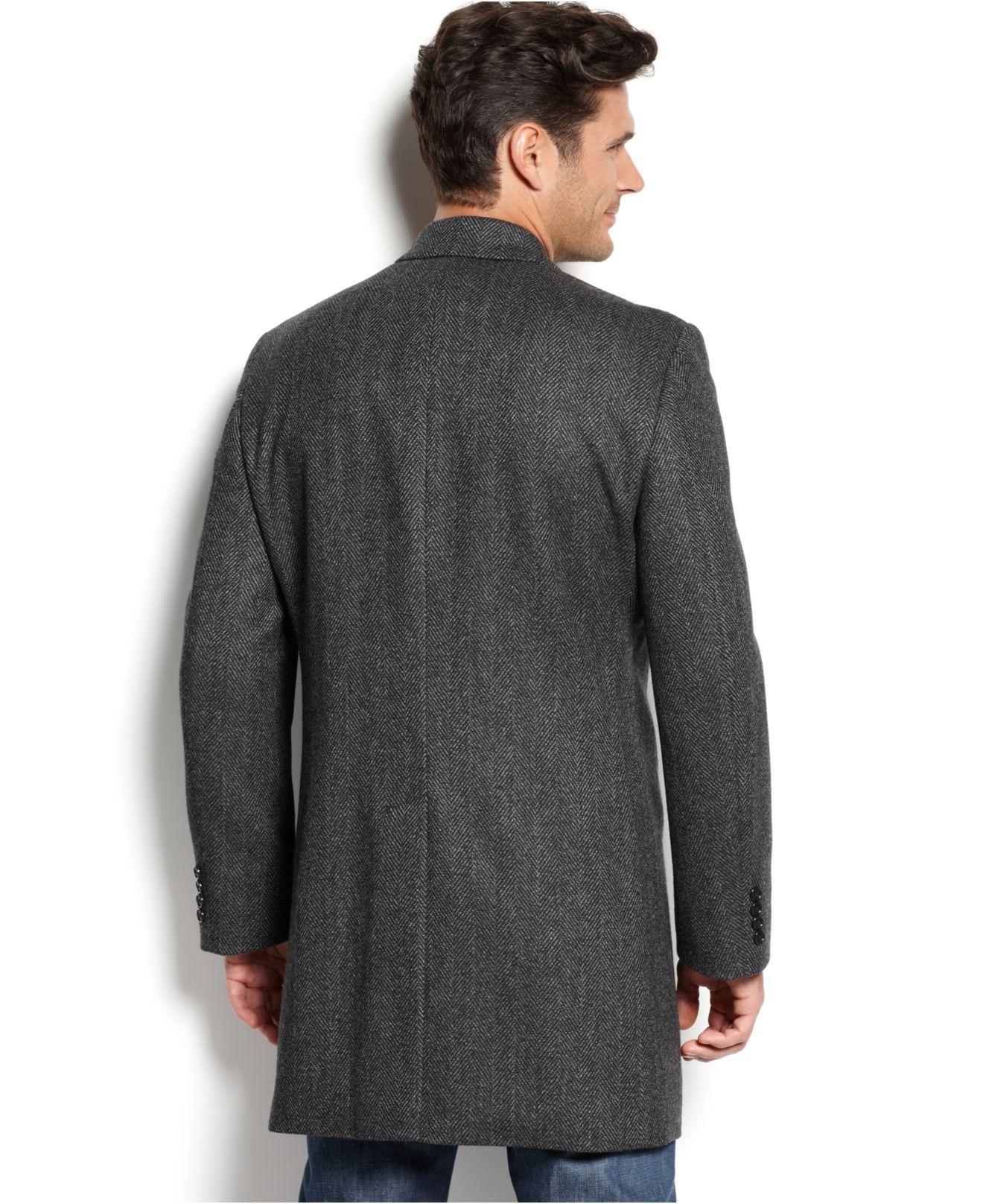 f6f7aa1c64a4 Kenneth Cole New York Elan Herringbone Wool-blend Over Coat Slim-fit ...