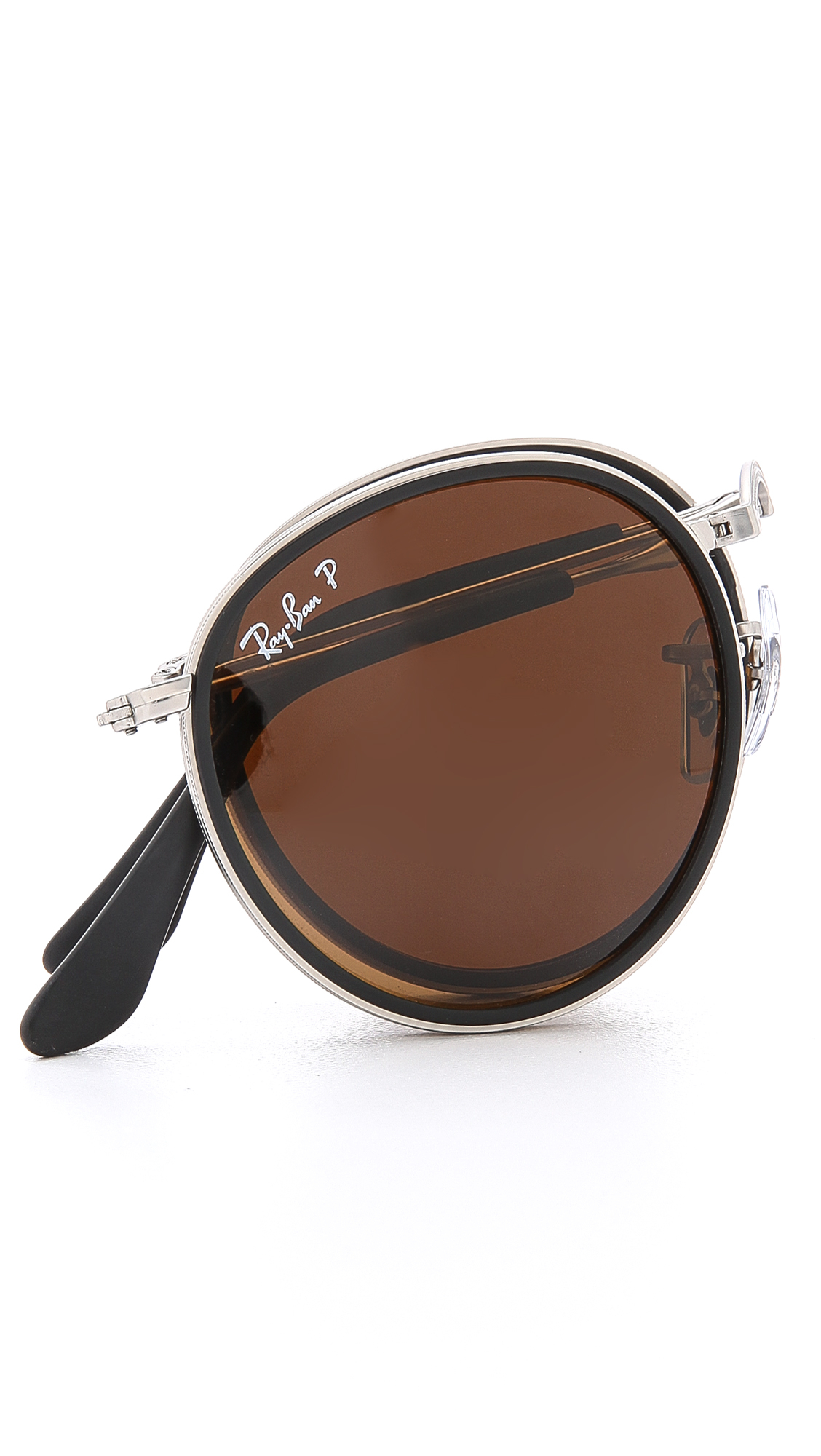 Ray Ban Polarized Round Folding Sunglasses In Metallic For