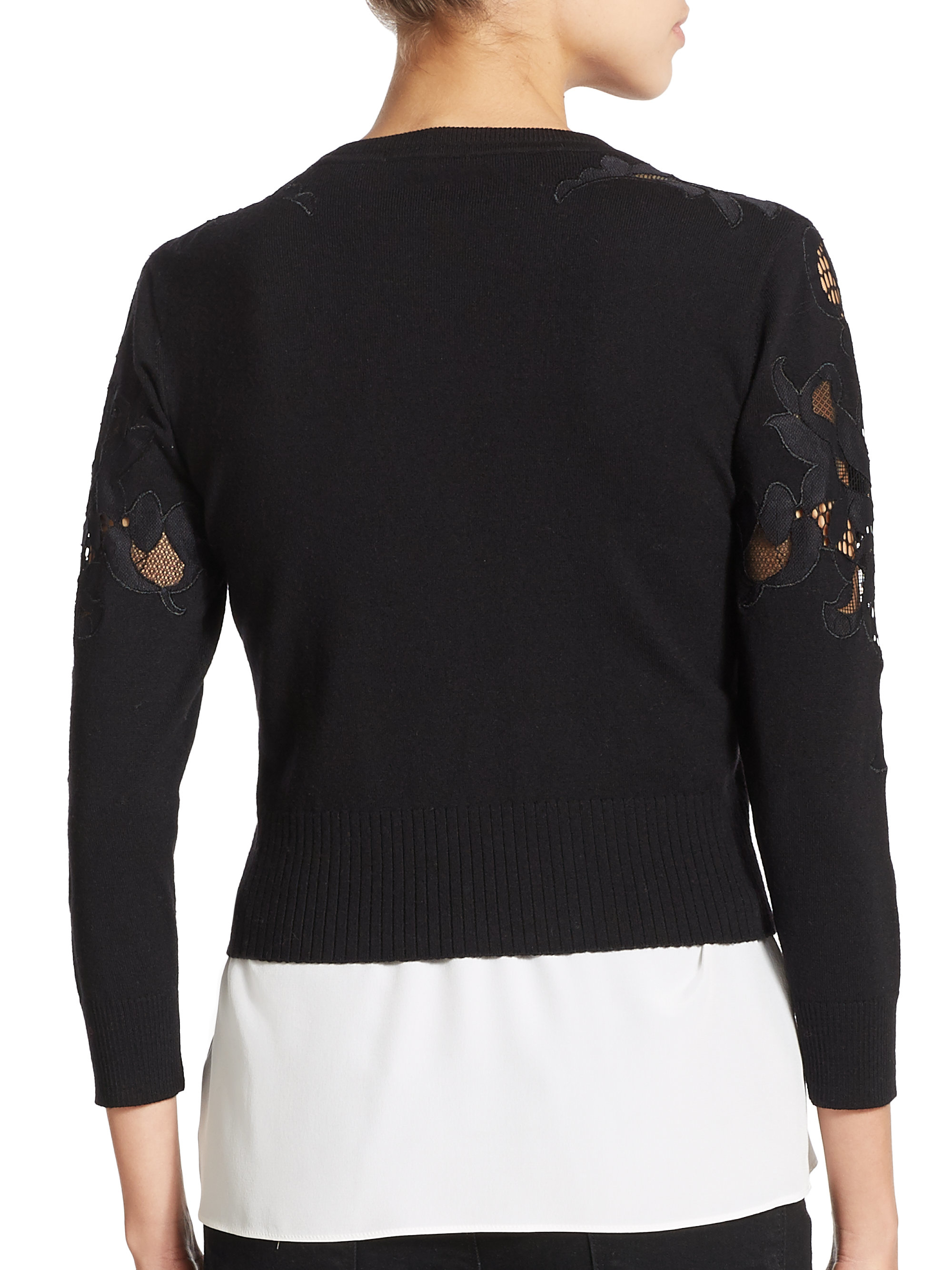 Diane von furstenberg Cooper Cropped Lace-detail Cardigan in Black ...