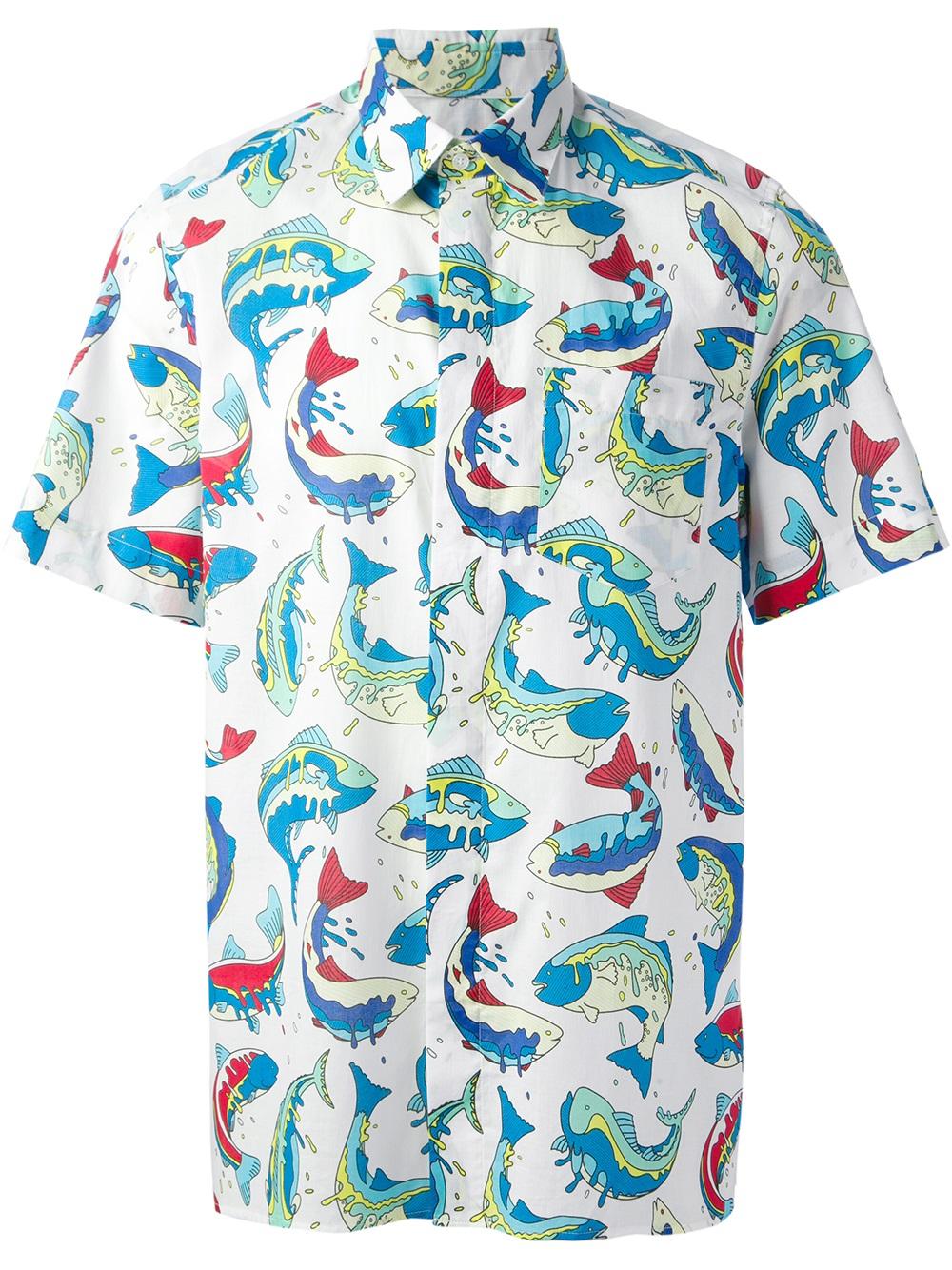 Lyst kenzo short sleeve shirt in blue for men for Fish print shirt