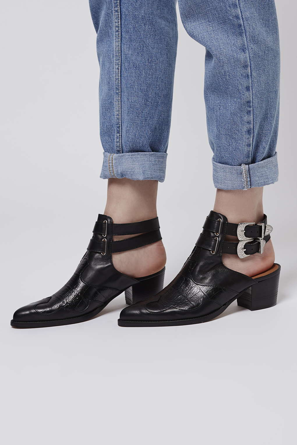 topshop western cut out boots in black lyst